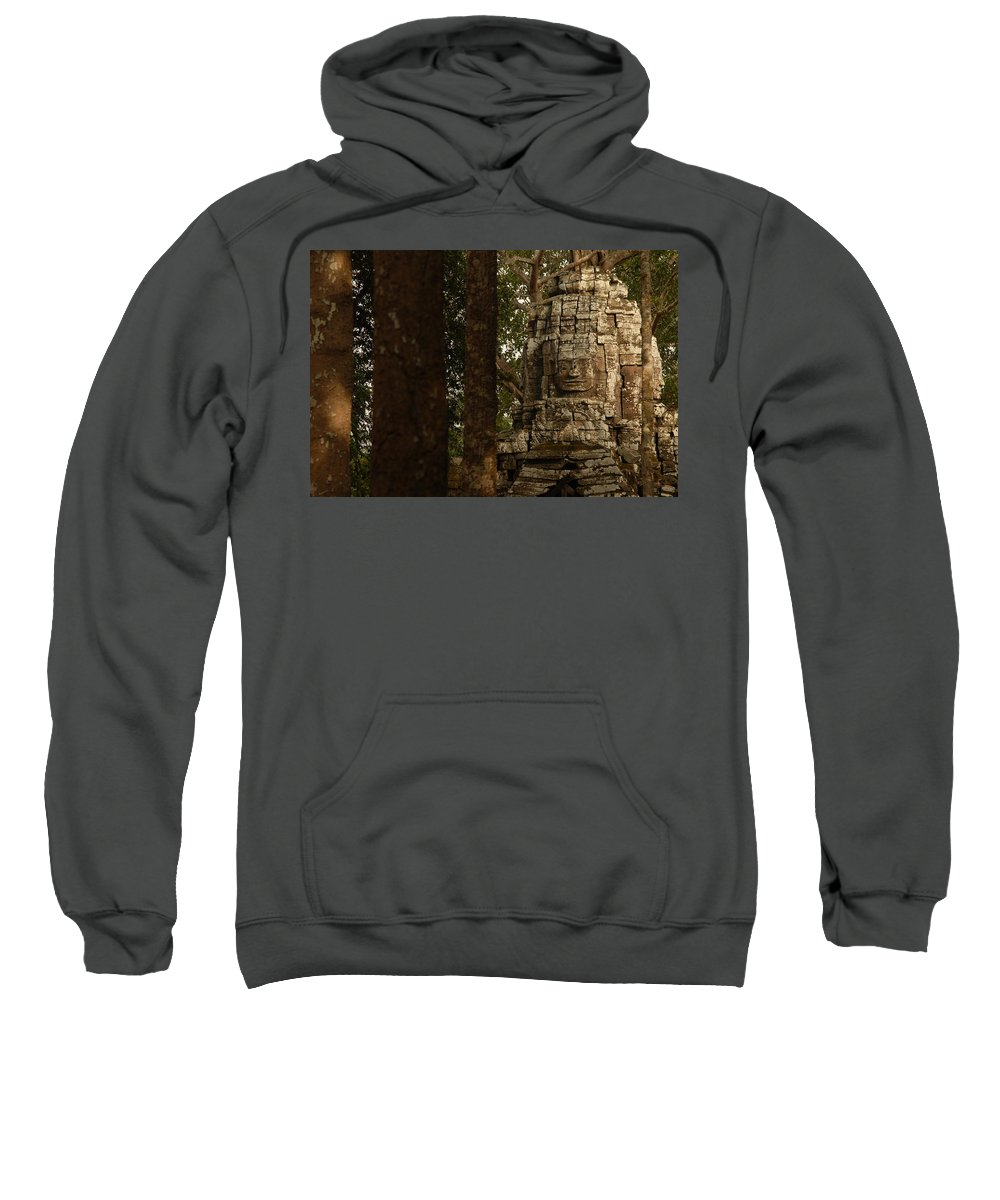 Angkor Wat Sweatshirt featuring the photograph Forest Face by Timothy Leonard