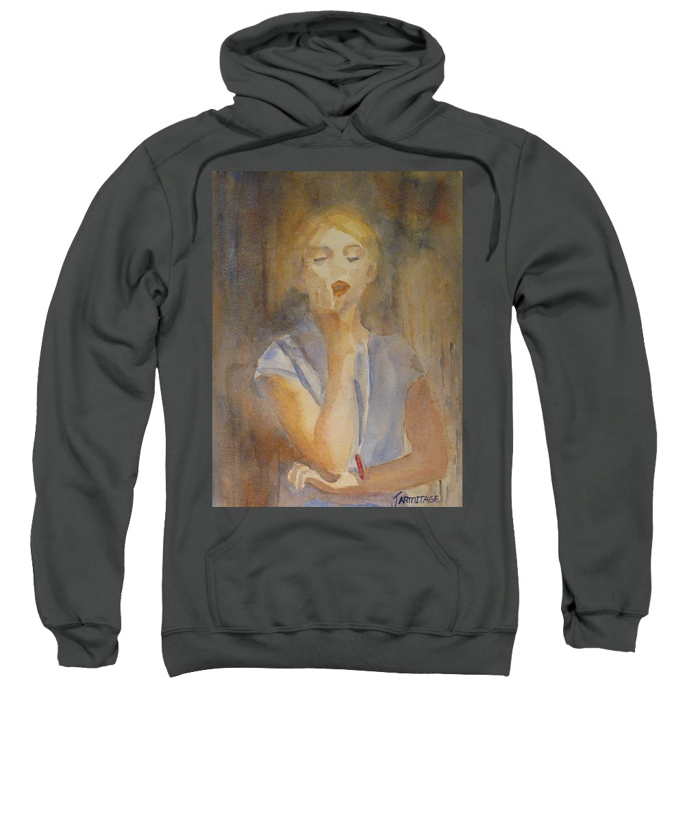 Woman Sweatshirt featuring the painting Forest Singer by Jenny Armitage