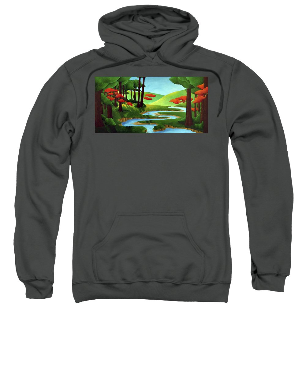 Landscape Sweatshirt featuring the painting Forest Stream - Through The Forest Series by Richard Hoedl