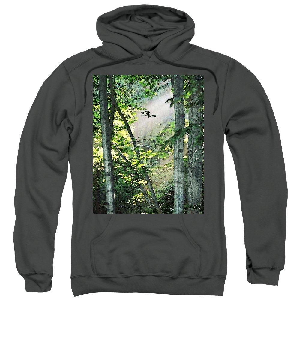 Forest Sweatshirt featuring the digital art Forest Sunbeam by Francesa Miller