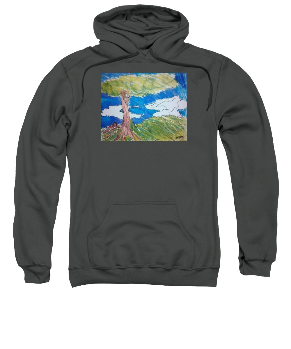 Sweatshirt featuring the painting Forestree by Dave Rozen