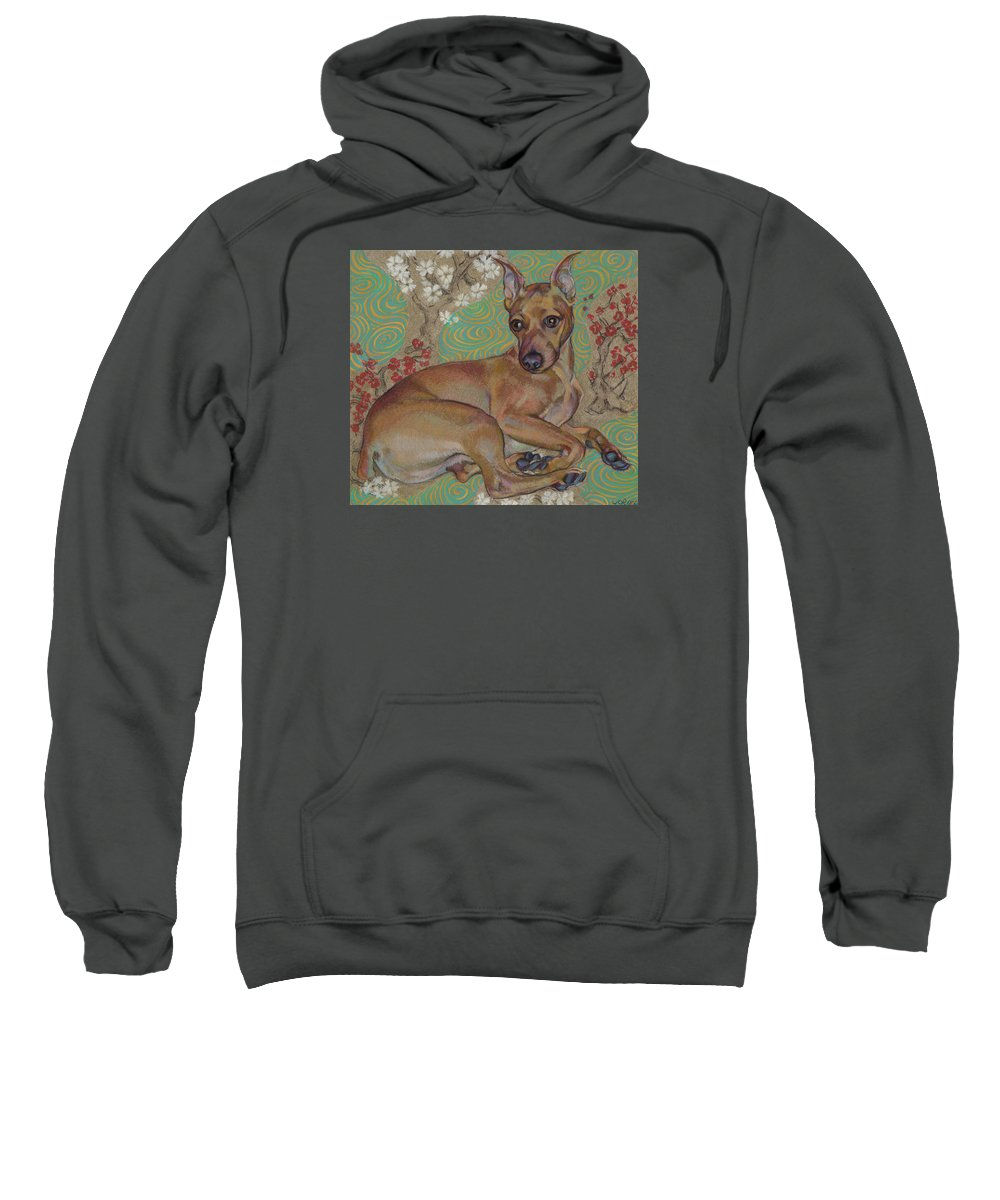 Dog Portrait Sweatshirt featuring the painting Mini-pinscher by Jane Oriel