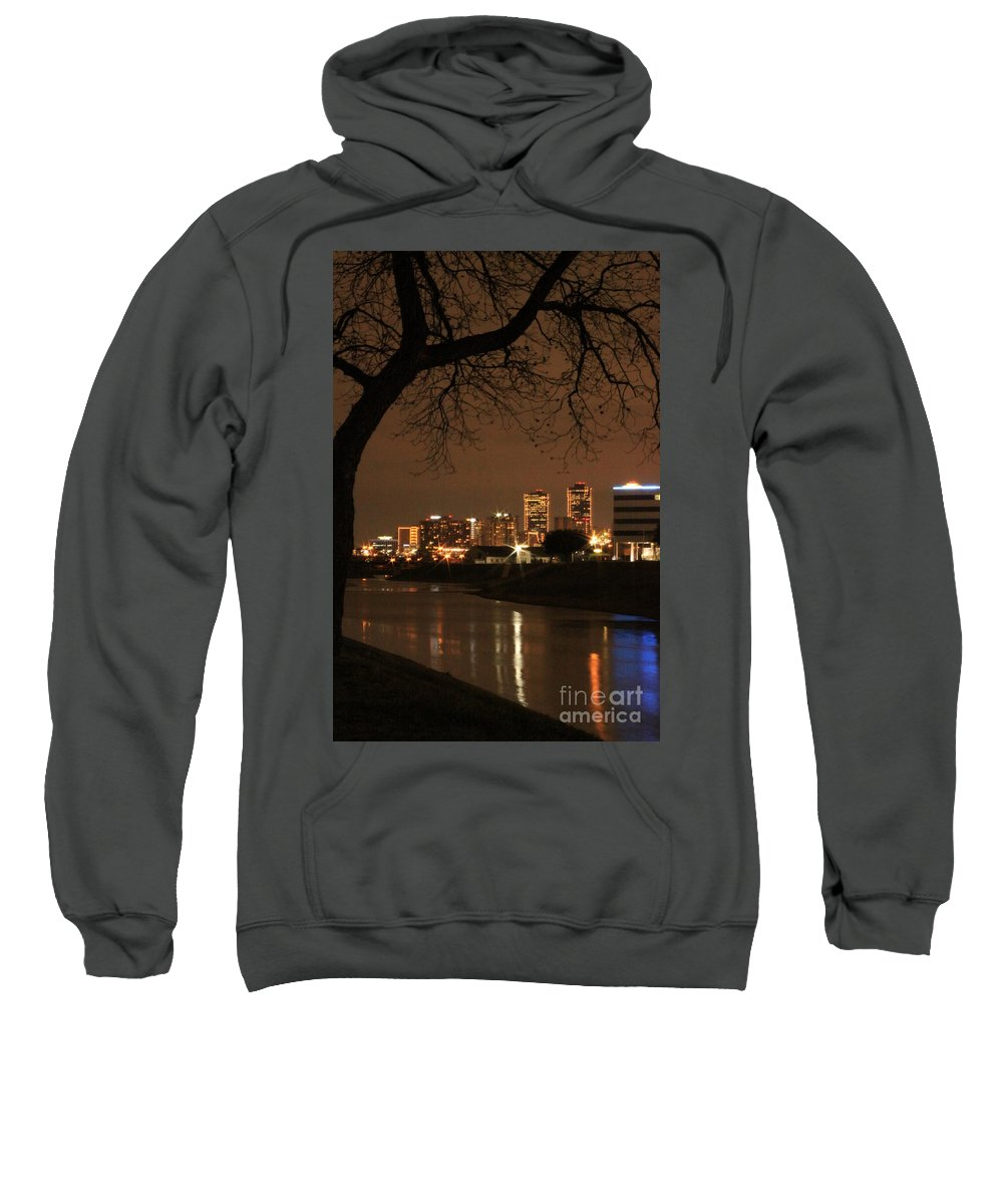Night Sweatshirt featuring the photograph Fort Worth Skyline by Jill Smith