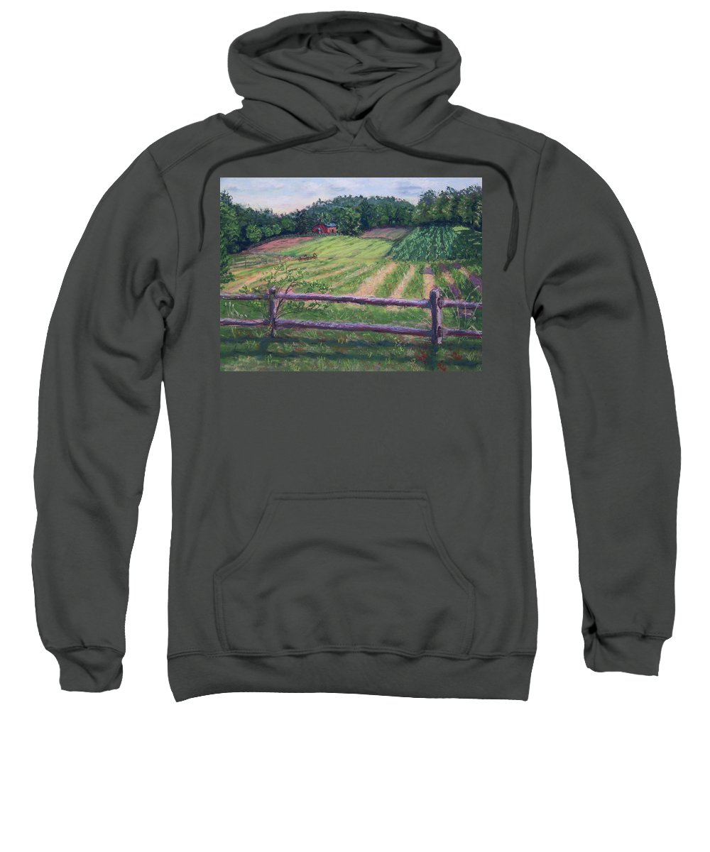 Fosterfields Farm Sweatshirt featuring the painting Fosterfields Farm by Laurie Paci