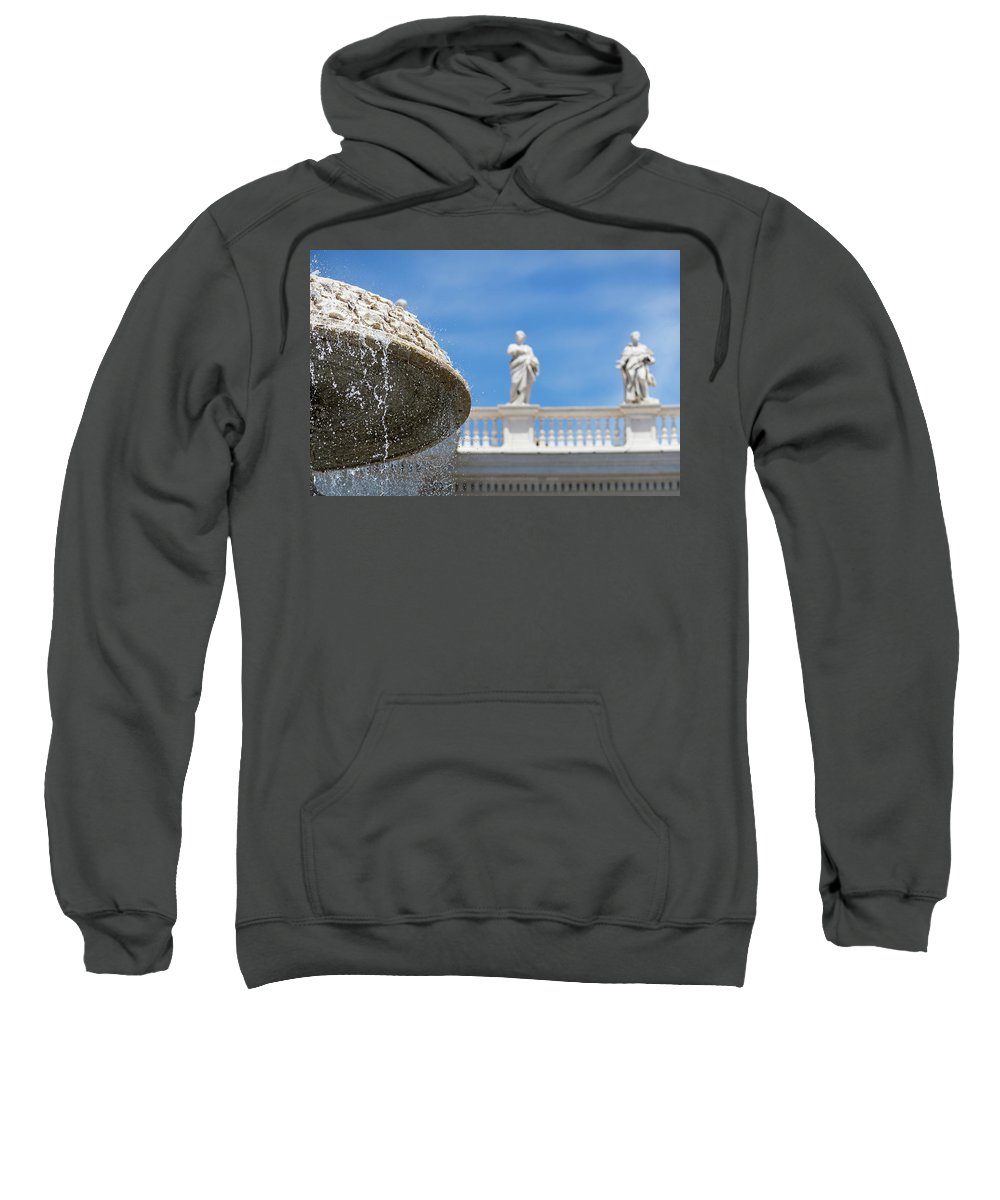 Rome St Peter's Basilica Christianity Europe European Italian Italy Mediterranean Roma Roman San Pietro Tiber Vatican Architectural Architecture Basilica Building Capitol City Cathedral Church Religion Dome Closeup Piazza San Pietro Fountain Sweatshirt featuring the photograph Fountain In The Piazza by Michael Evans