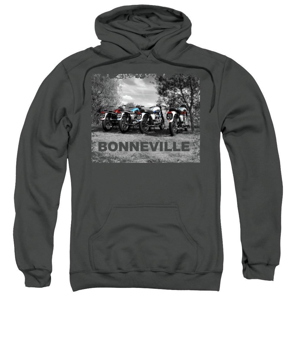 Triumph Bonneville Sweatshirt featuring the photograph Four Bonnevilles by Mark Rogan