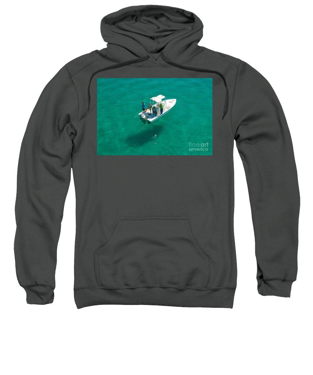 Fishing Sweatshirt featuring the photograph Four Fishermen by David Lee Thompson