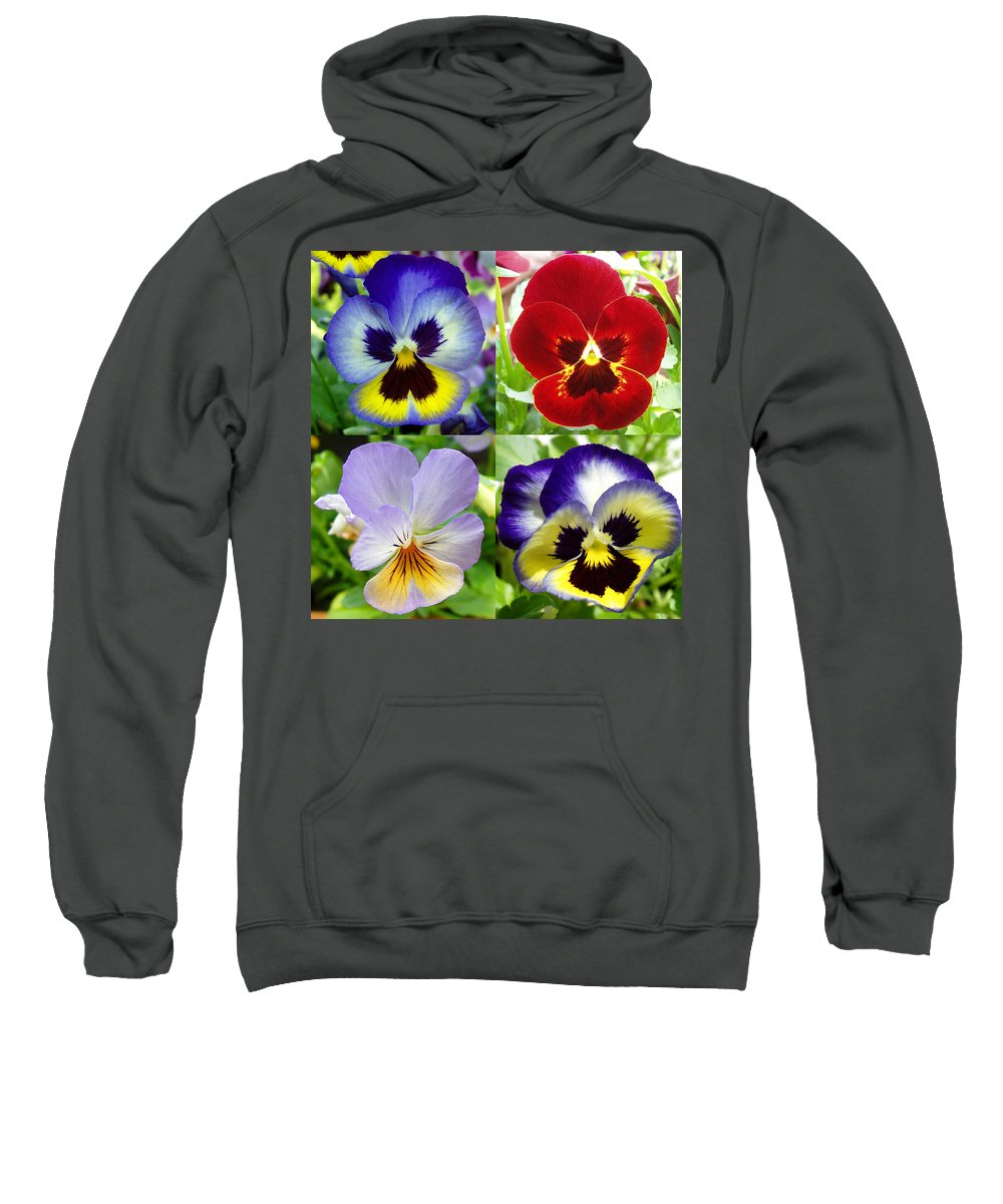 Pansy Sweatshirt featuring the photograph Four Pansies by Nancy Mueller