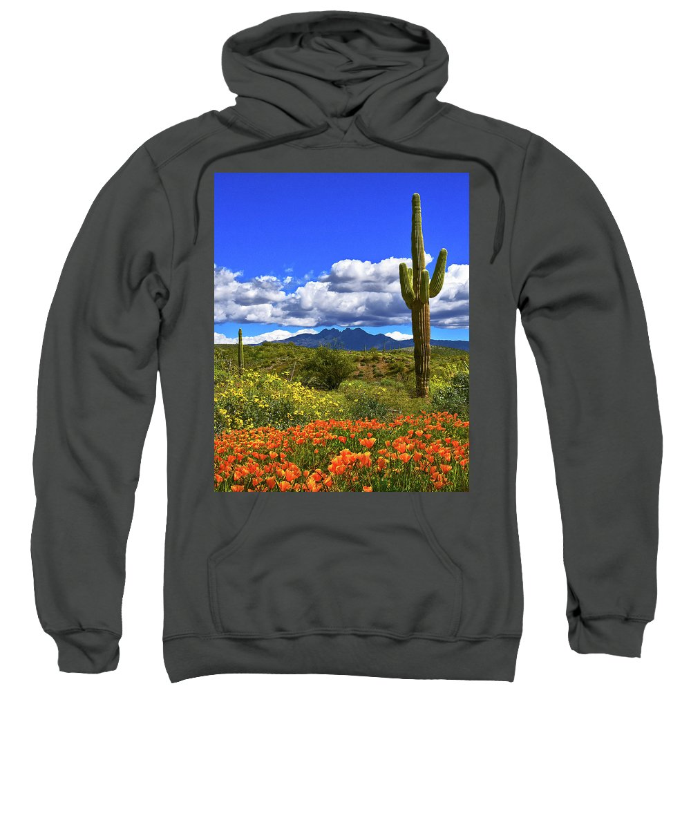 Four Peaks Sweatshirt featuring the photograph Four Peaks And Poppies, Springtime, Arizona by Don Schimmel