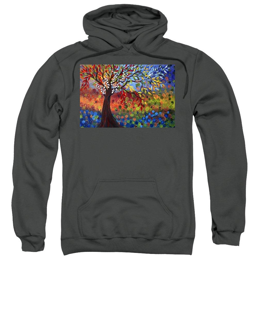 Art Sweatshirt featuring the painting Four Seasons by Luiza Vizoli
