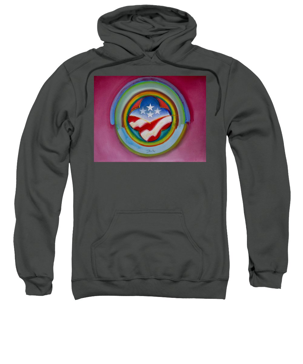 Button Sweatshirt featuring the painting Four Star Button by Charles Stuart