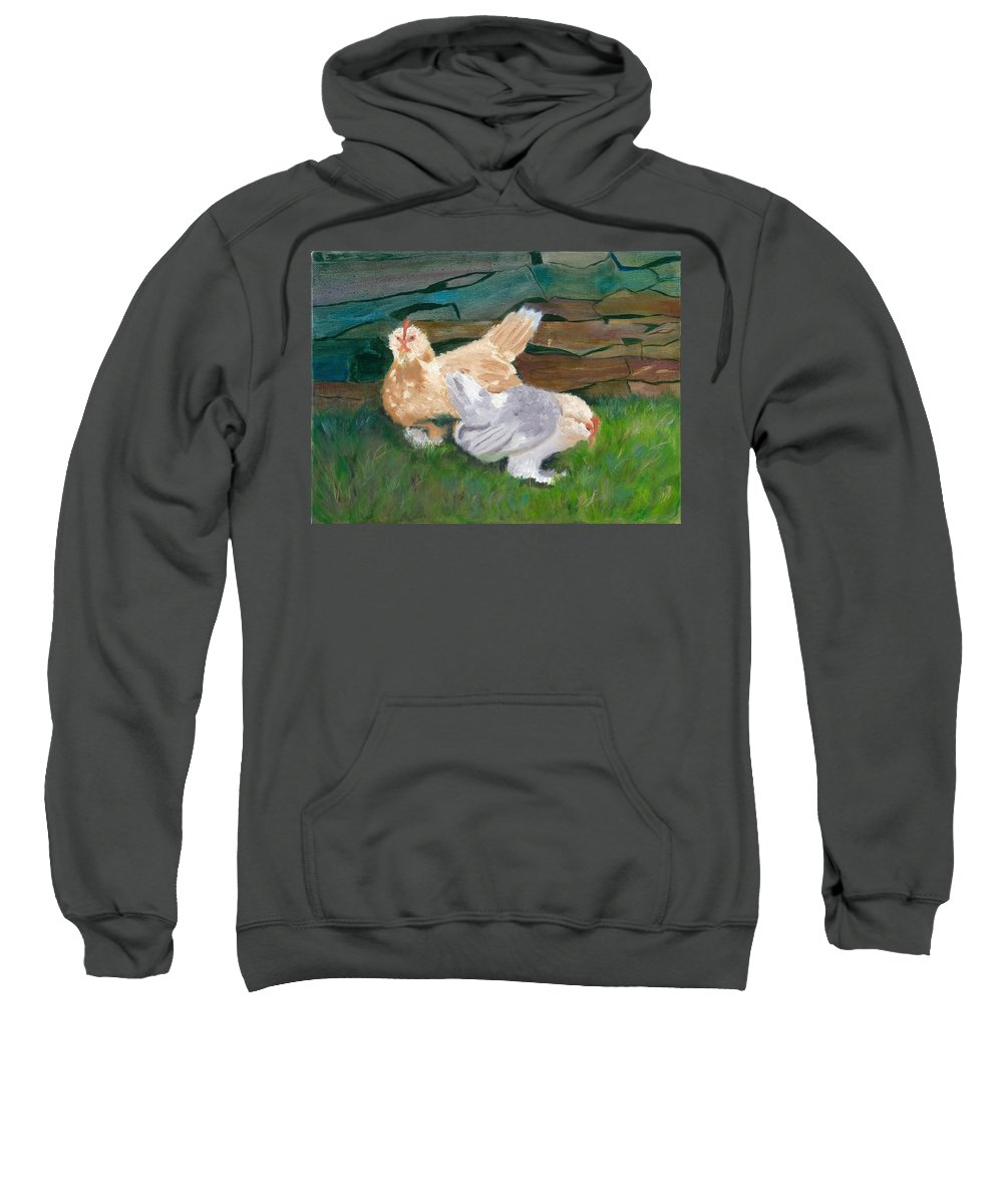 Chickens Bantams Countryside Stonewall Farm Sweatshirt featuring the painting Fowl Play by Paula Emery