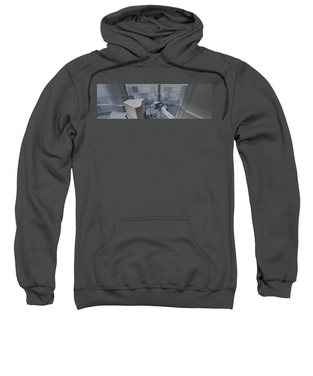 Panorama Sweatshirt featuring the digital art Fractal Factory by Marjan Mencin