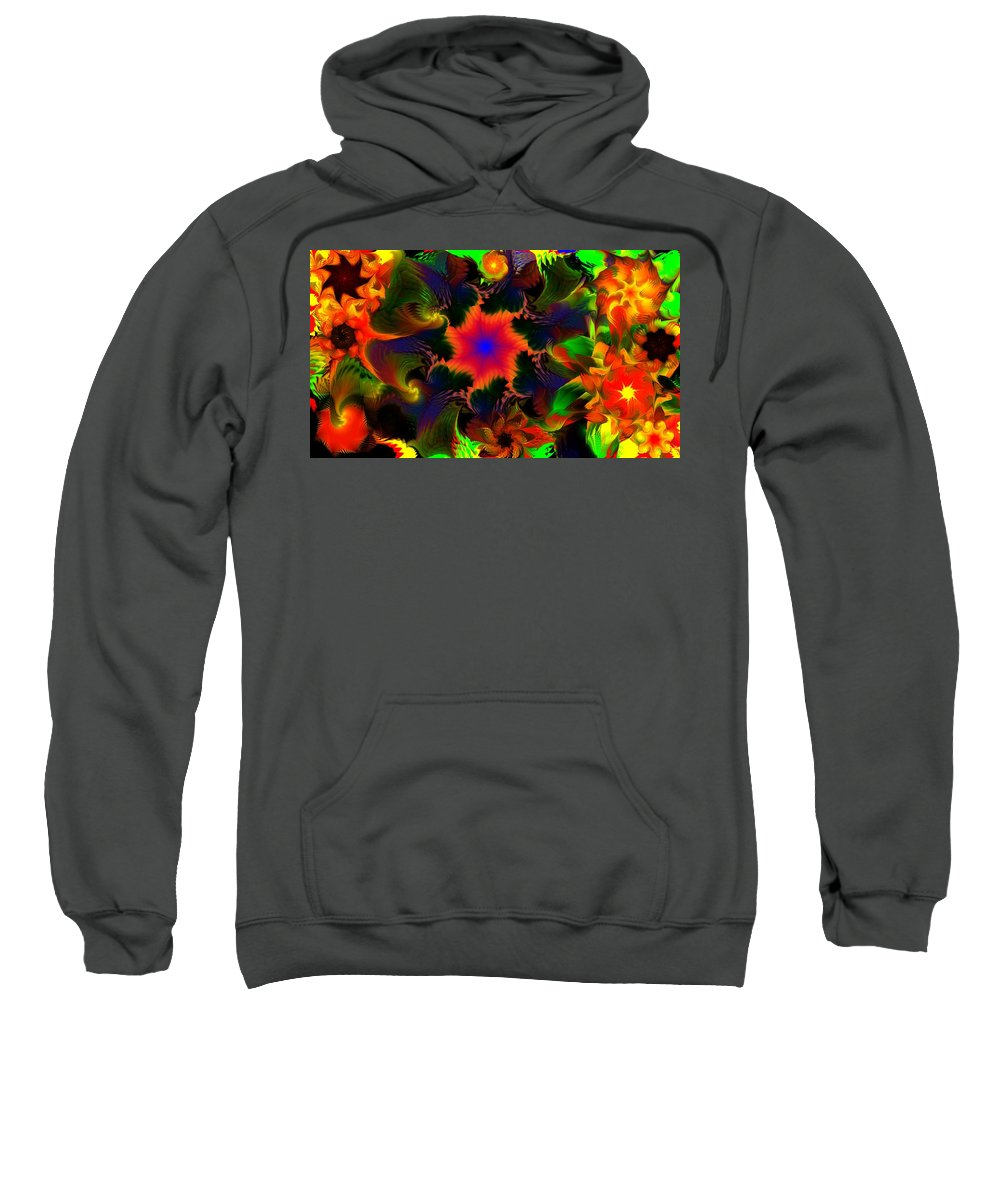Abstract Digital Painting Sweatshirt featuring the digital art Fractal Garden 15 by David Lane