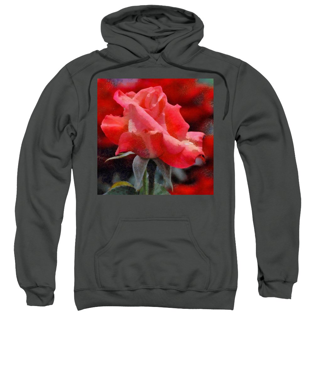 Fragmented Pink Rose Sweatshirt featuring the digital art Fragmented Pink Rose by Catherine Lott
