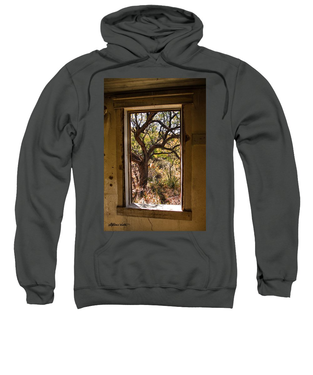 Landscape Sweatshirt featuring the photograph Framed Mesquite Tree by Stephanie Salter