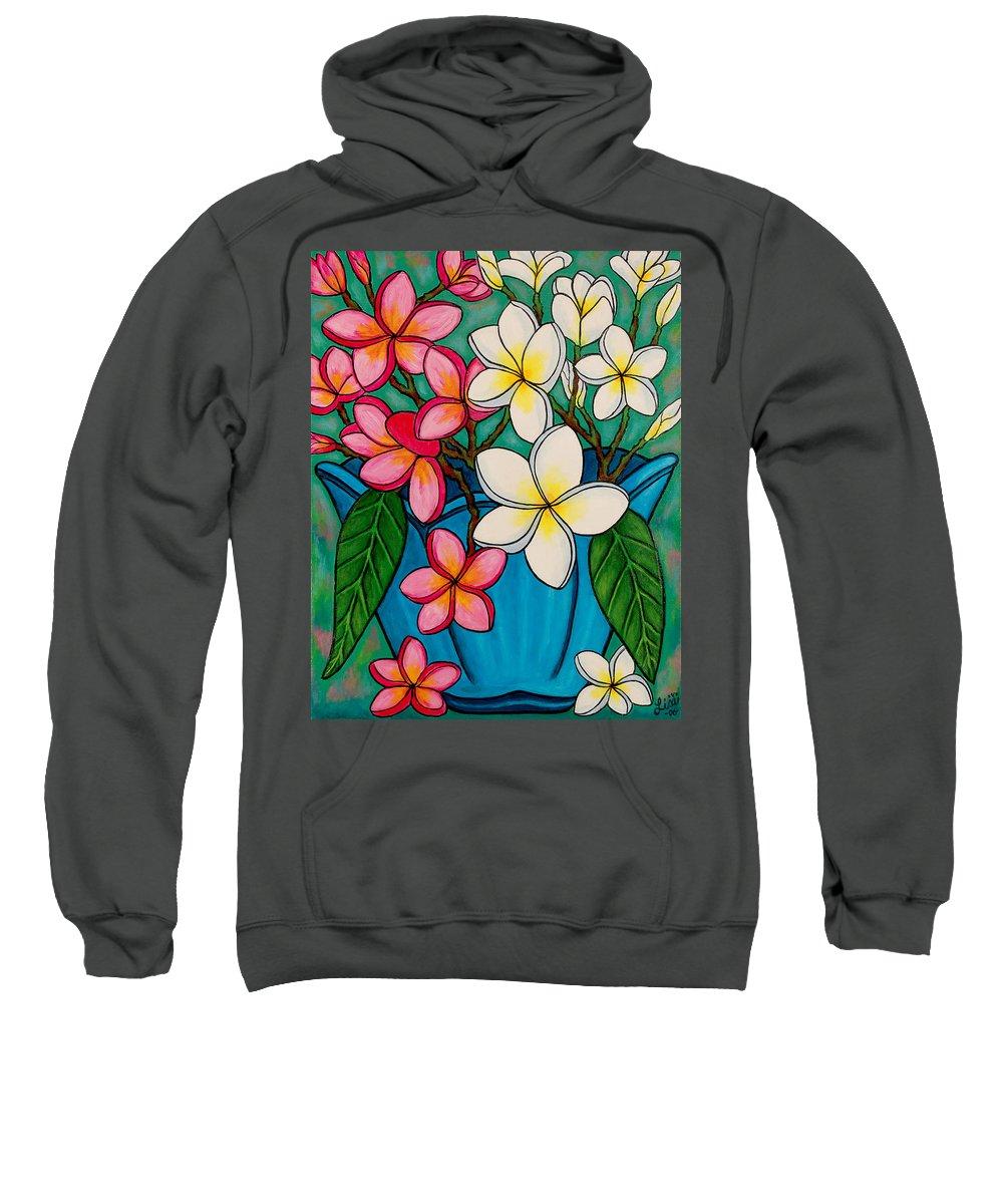 Frangipani Sweatshirt featuring the painting Frangipani Sawadee by Lisa Lorenz