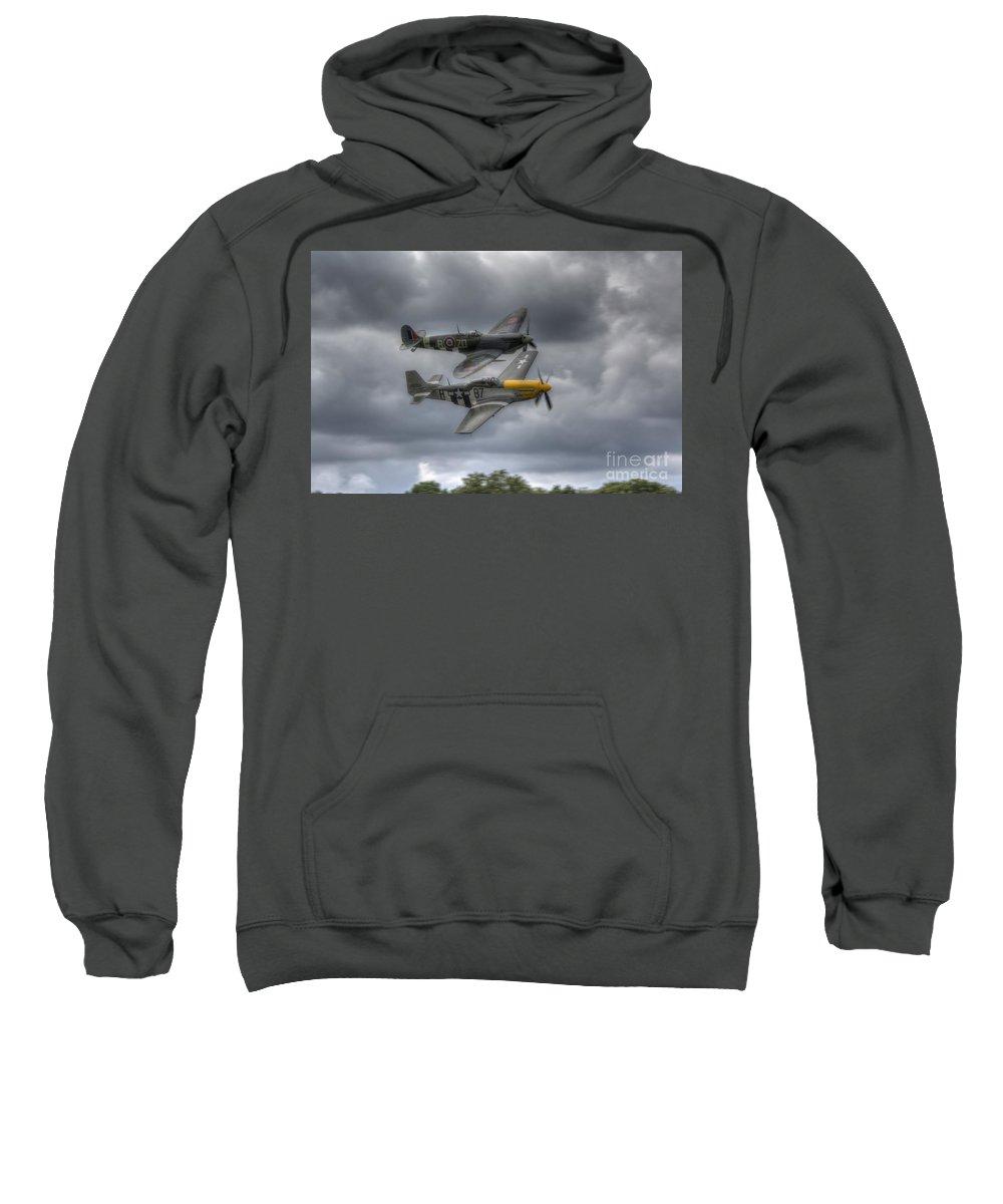 Aeroplane Sweatshirt featuring the digital art Frankie And Spitfire by Nigel Bangert