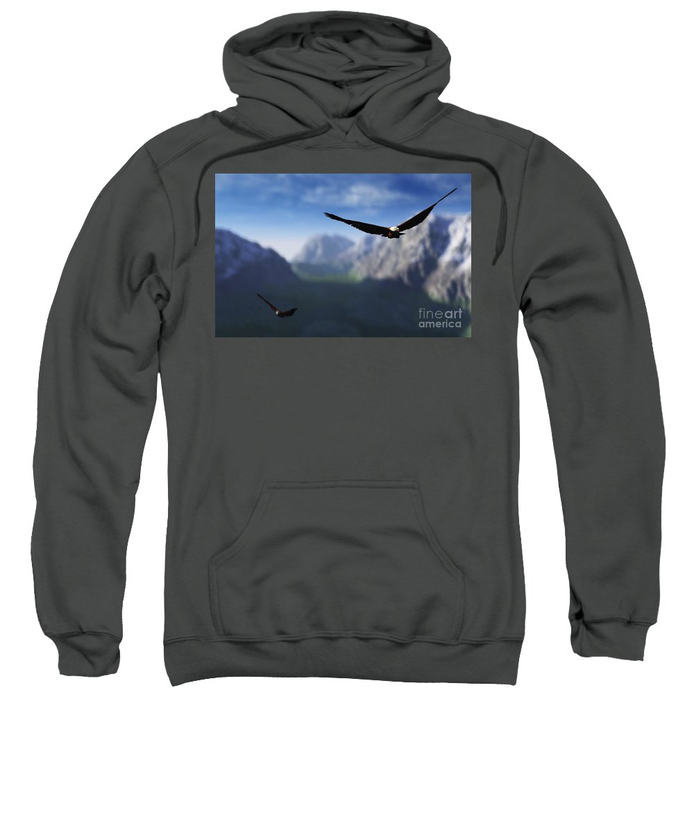 Eagles Sweatshirt featuring the digital art Free Bird by Richard Rizzo