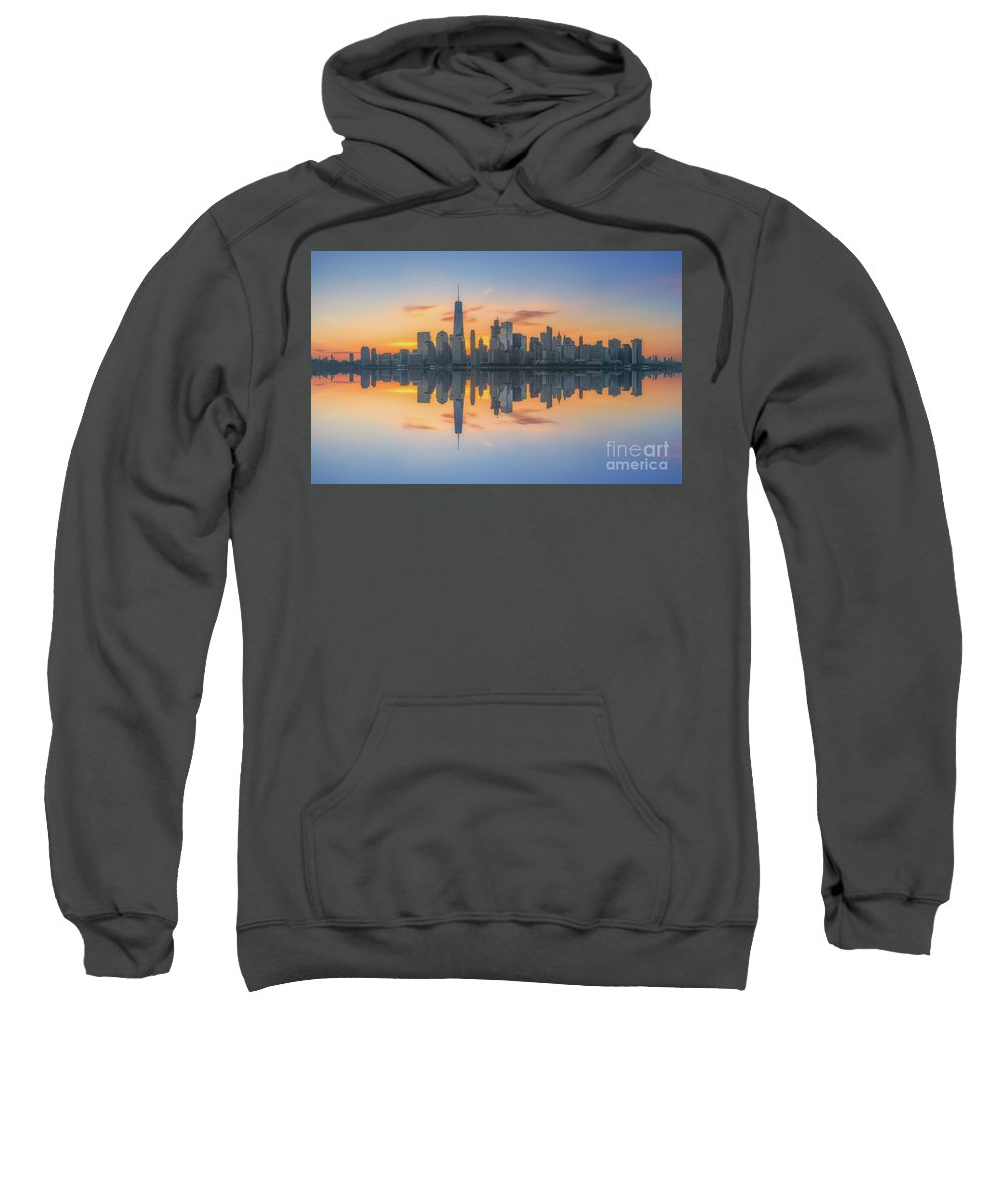 Lower Manhattan Sweatshirt featuring the photograph Freedom Tower Sunrise Reflections by Michael Ver Sprill