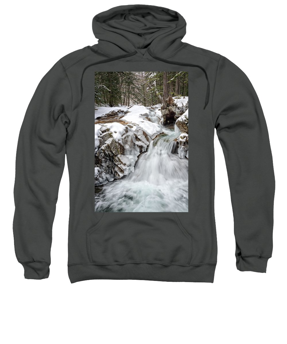 Water Falls Sweatshirt featuring the photograph Freeze On The Basin Trail Nh by Michael Hubley