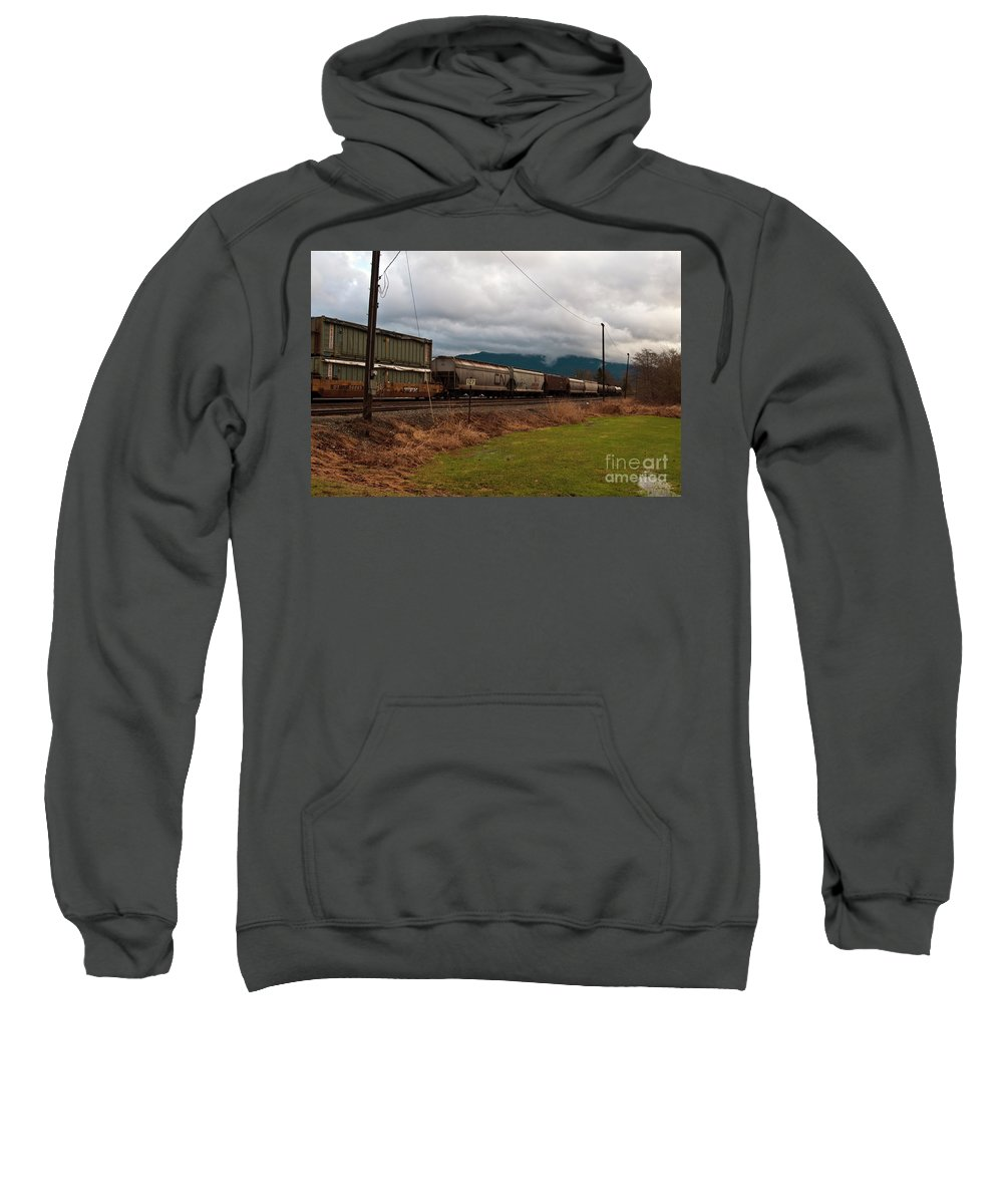 Clay Sweatshirt featuring the photograph Freight Rain by Clayton Bruster