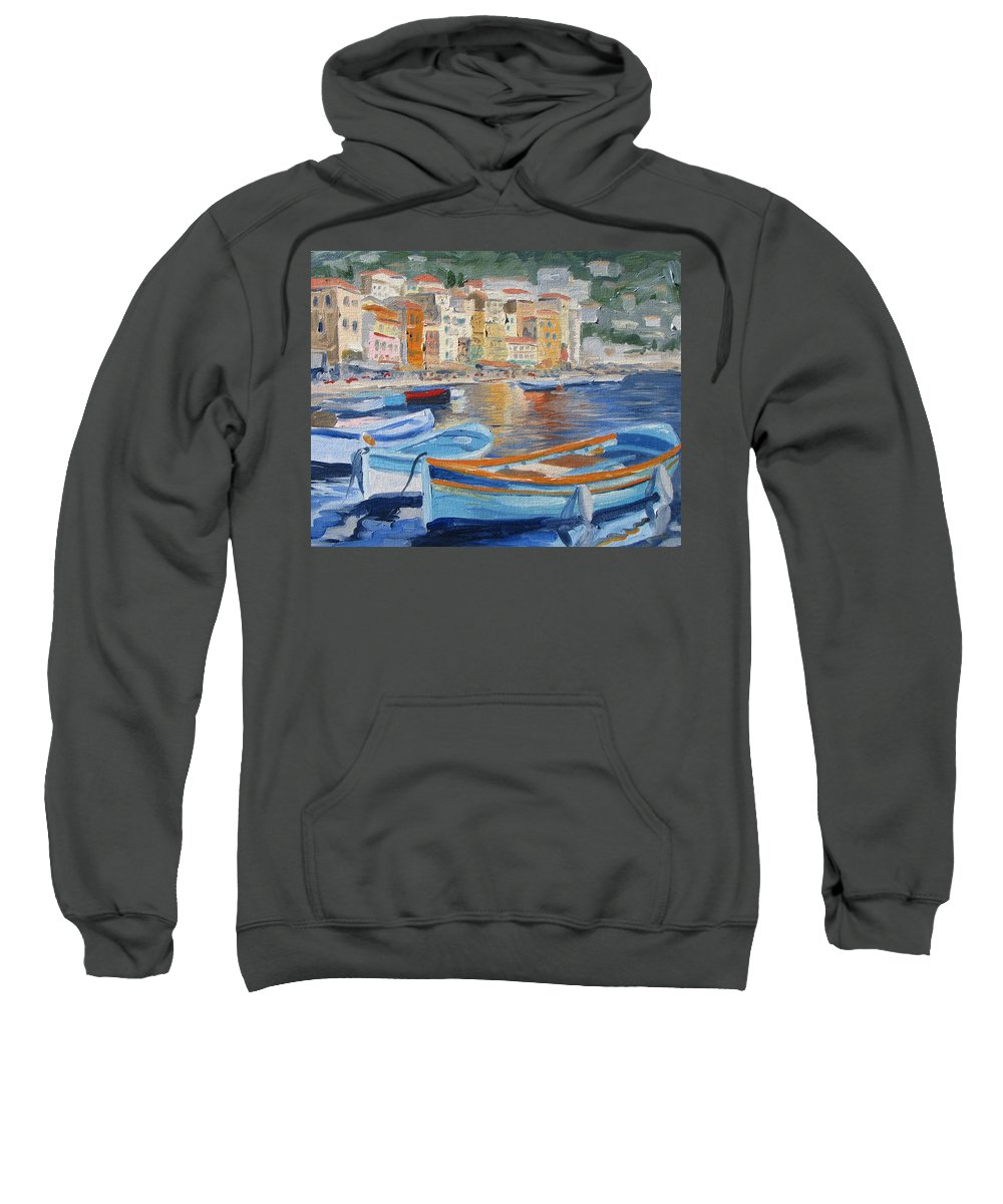 Seascape Sweatshirt featuring the painting French Harbor by Jay Johnson