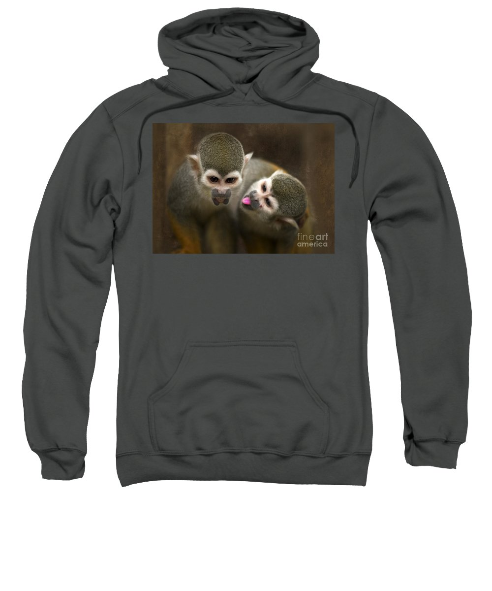 Monkeys Sweatshirt featuring the photograph French Kiss by Angel Ciesniarska