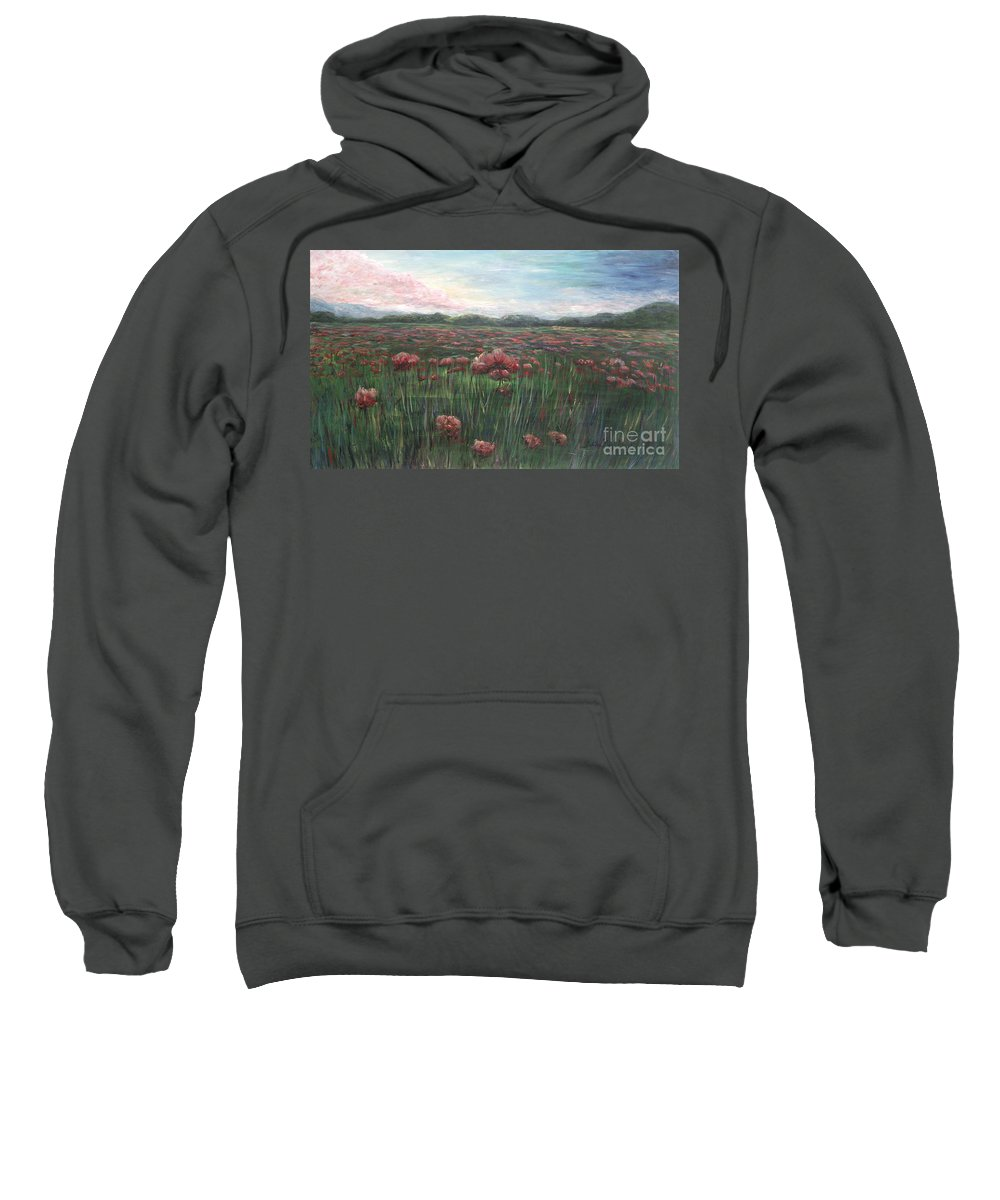 France Sweatshirt featuring the painting French Poppies by Nadine Rippelmeyer