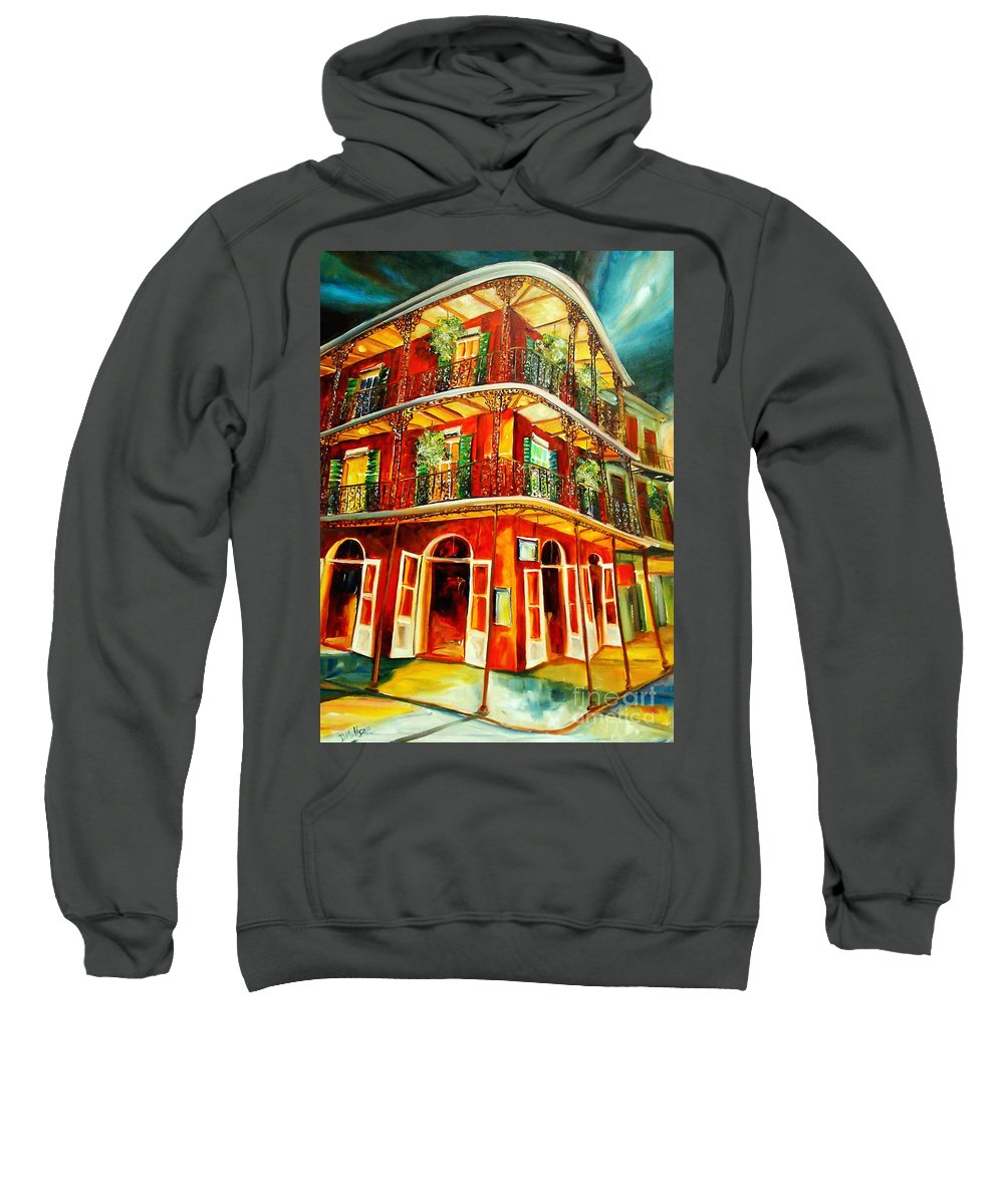 New Orleans Sweatshirt featuring the painting French Quarter Corner by Diane Millsap