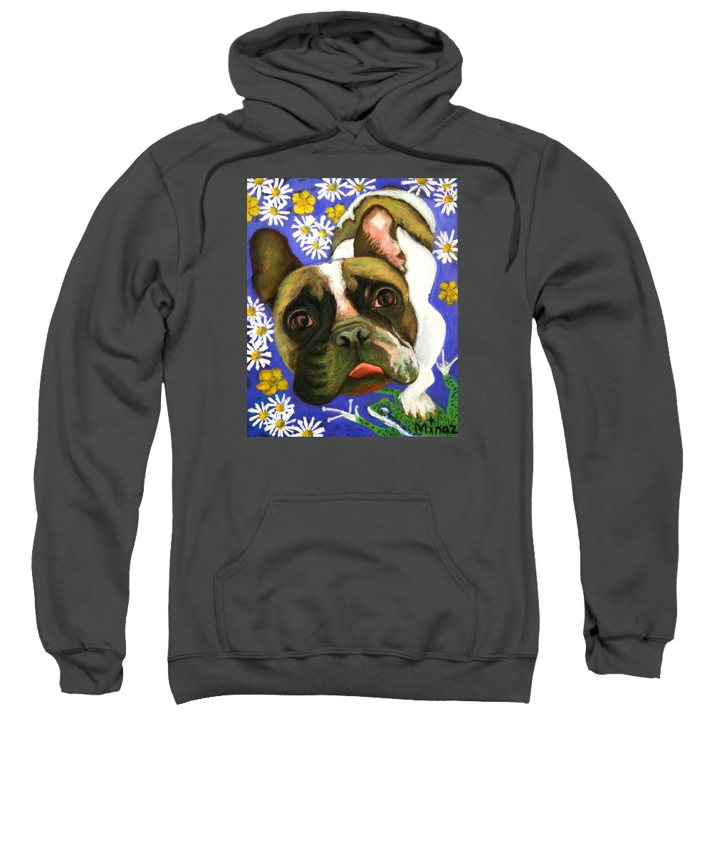 Pet Portrait Sweatshirt featuring the painting Frenchie Plays With Frogs by Minaz Jantz