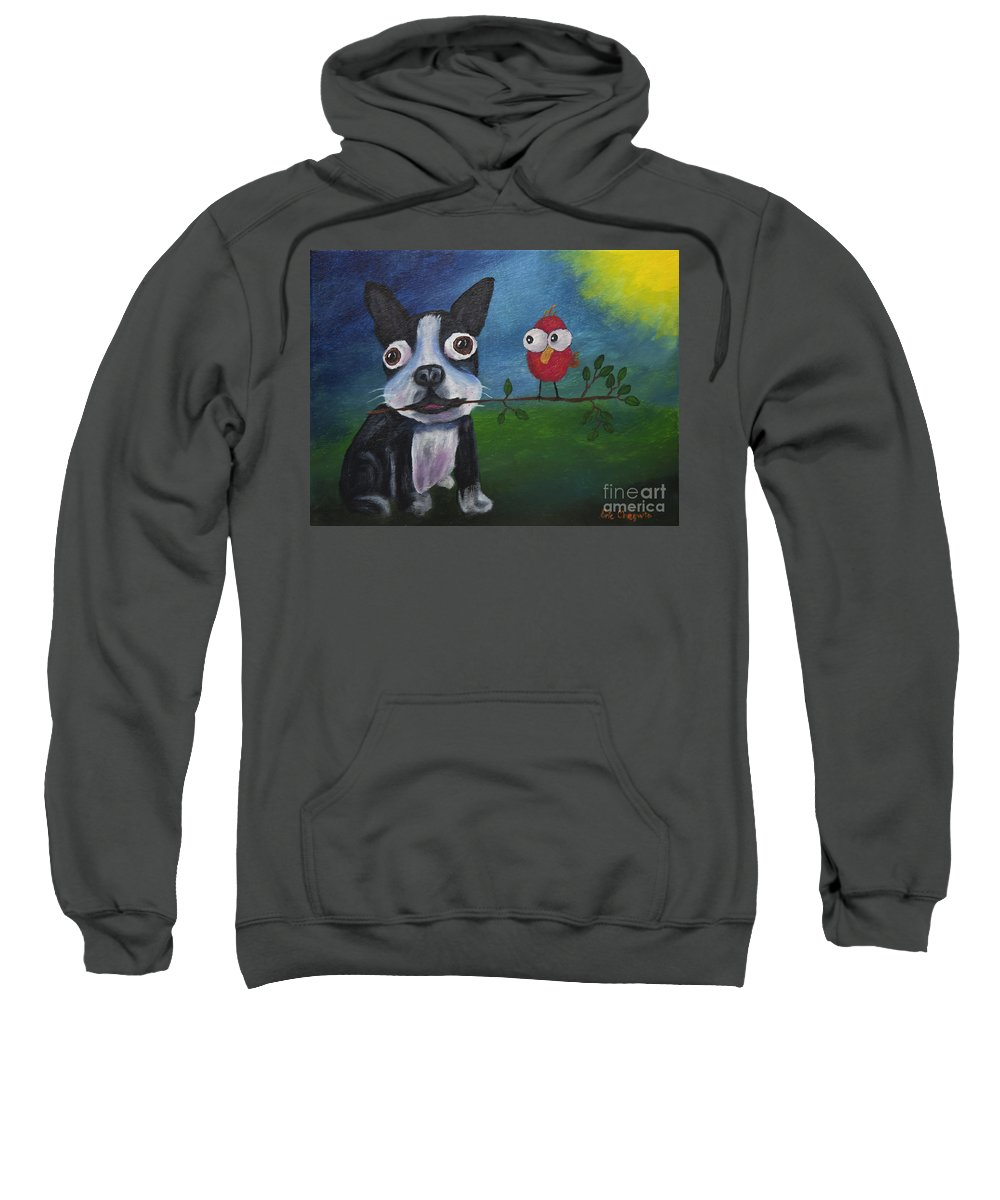 Boston Sweatshirt featuring the painting Friends Don't Fly Away by Eric Chegwin