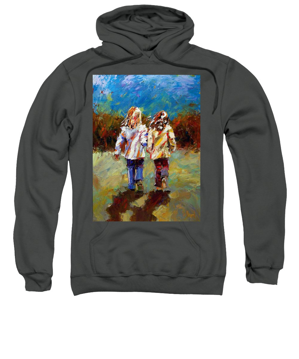 Girls Sweatshirt featuring the painting Friends Forever by Debra Hurd