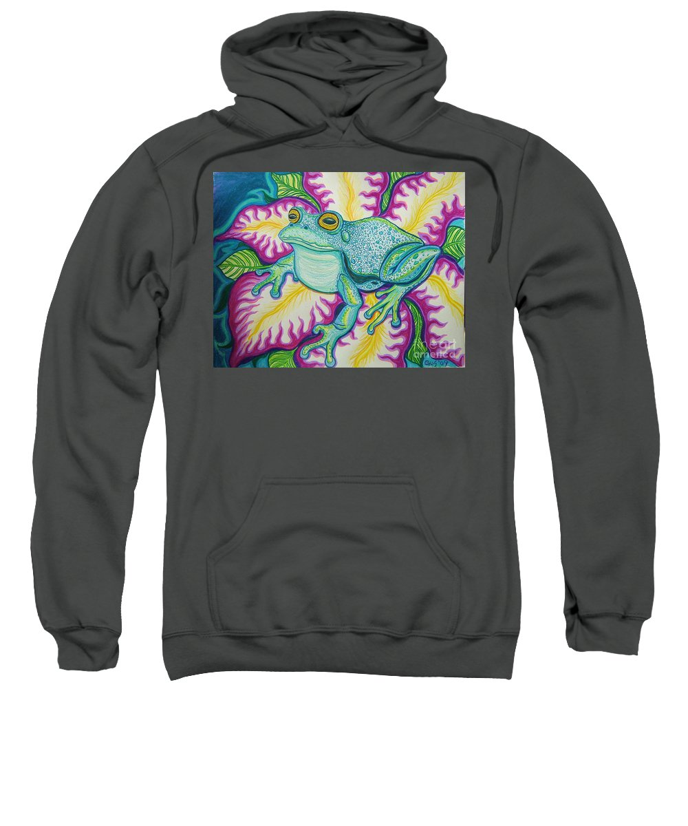Frog And Flower Art Sweatshirt featuring the drawing Frog And Flower by Nick Gustafson