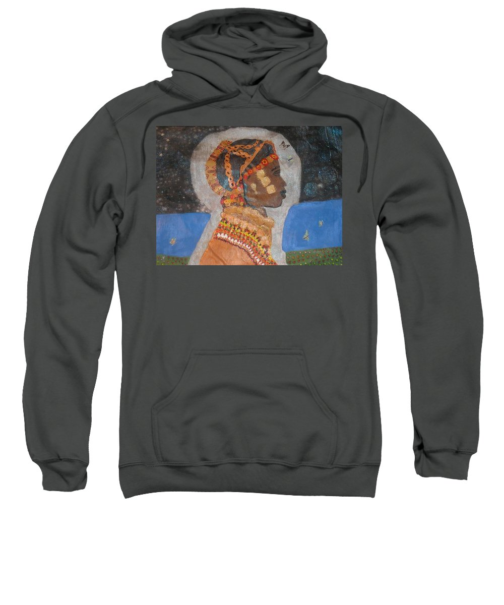 Cultural Sweatshirt featuring the painting From Princess To Queen by Yolanda Banks FWP