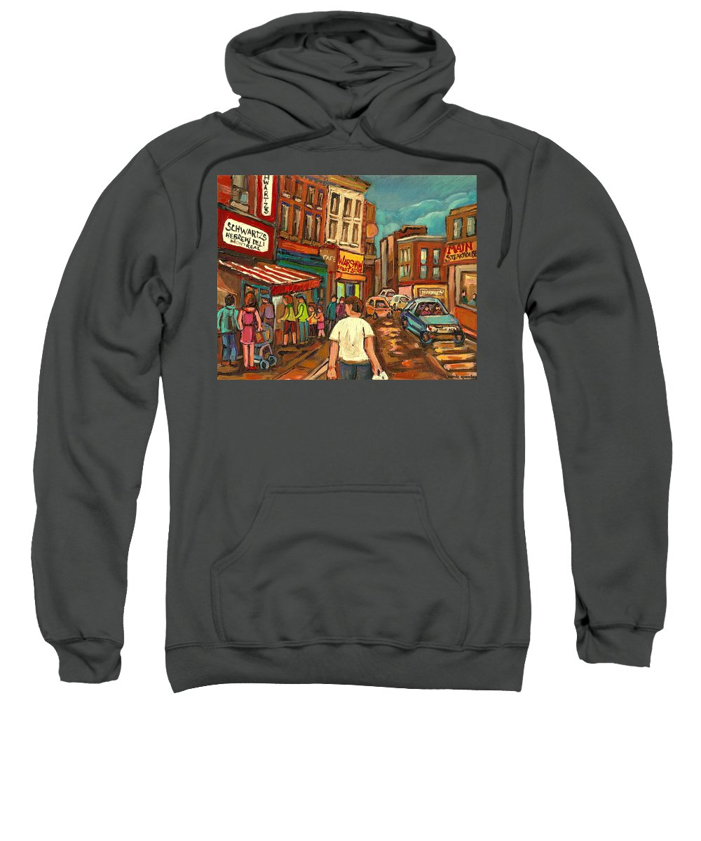 From Schwartzs To Warshaw Sweatshirt featuring the painting From Schwartz's To Warshaws To The Main Steakhouse Montreal's Famous Landmarks By Carole Spandau by Carole Spandau