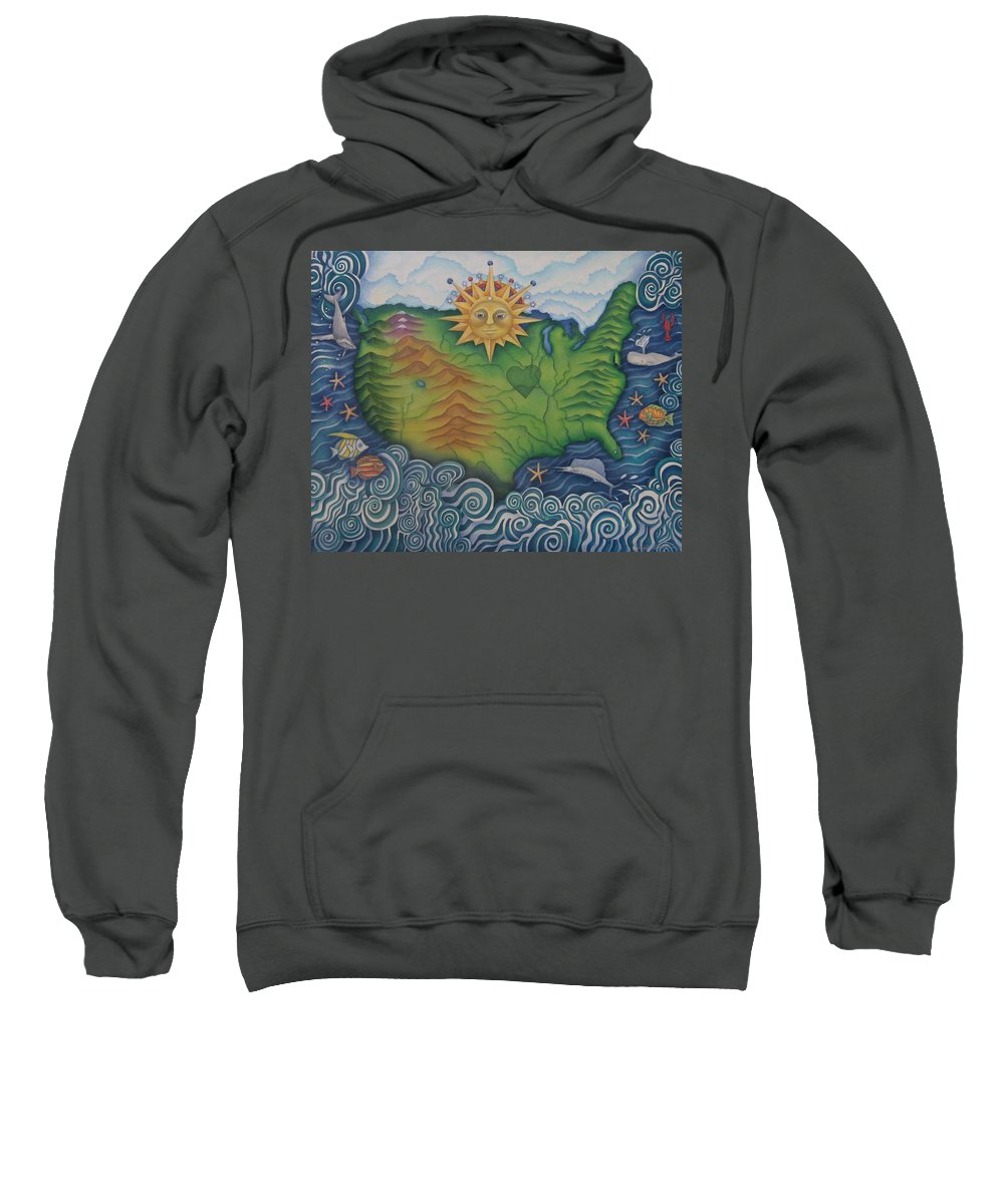 Map Sweatshirt featuring the painting From Sea To Shining Sea by Jeniffer Stapher-Thomas
