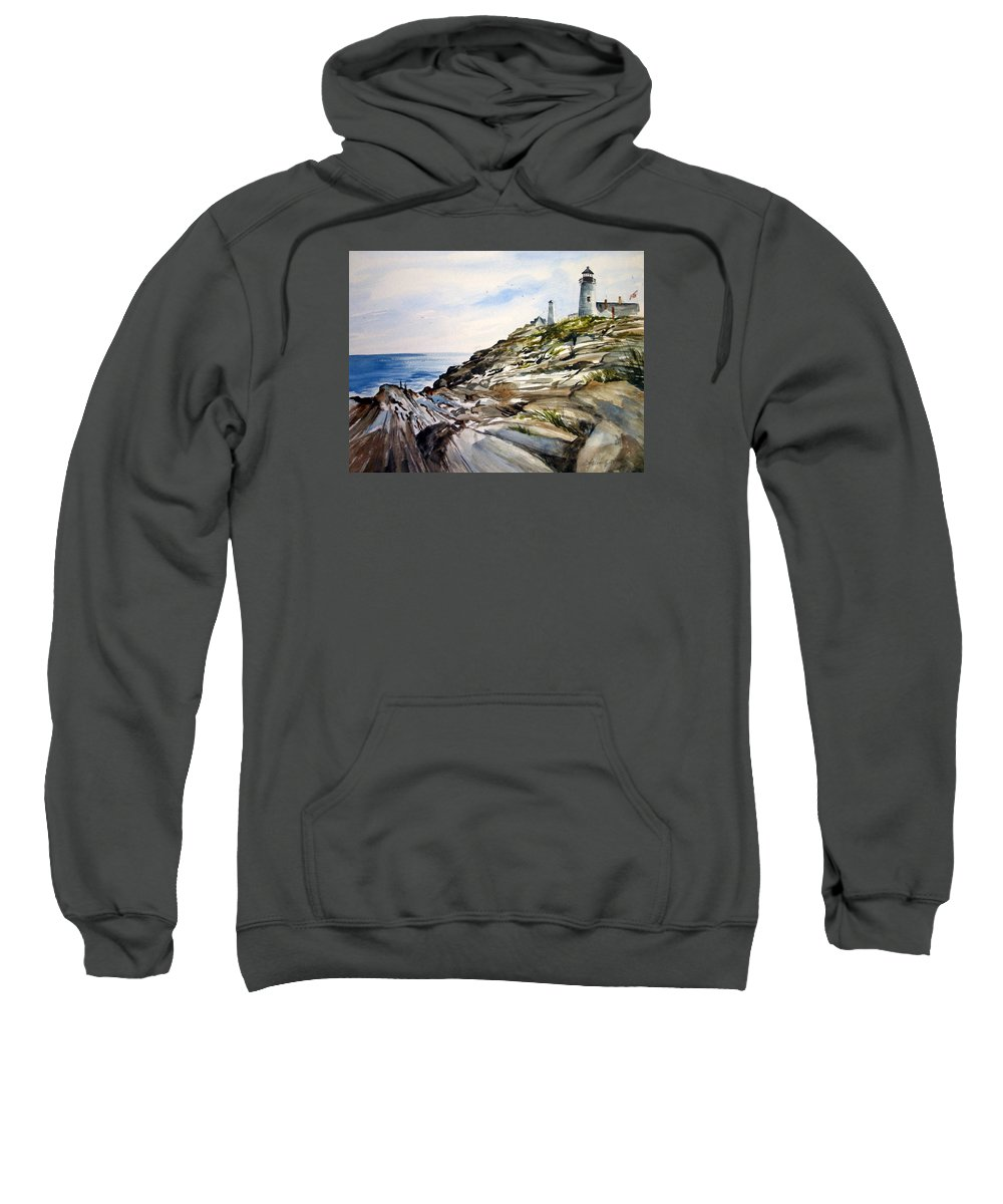 Pemaquid Light House;rocks;ocean;maine;pemaquid;light;lighthouse; Sweatshirt featuring the painting From The Rocks Below by Lois Mountz