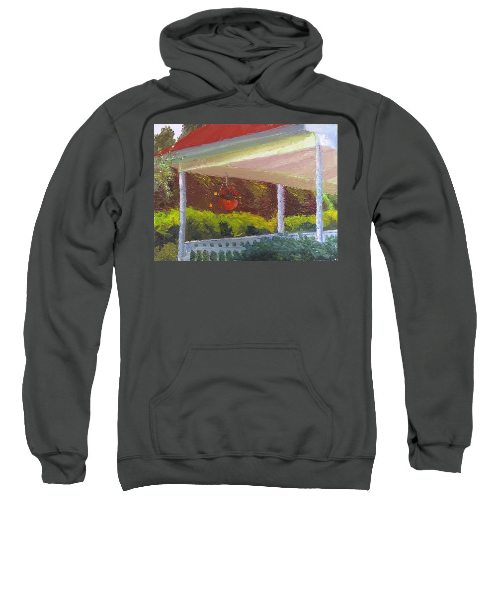 Landscape Painting Sweatshirt featuring the painting Front Porch - Morning by Lea Novak