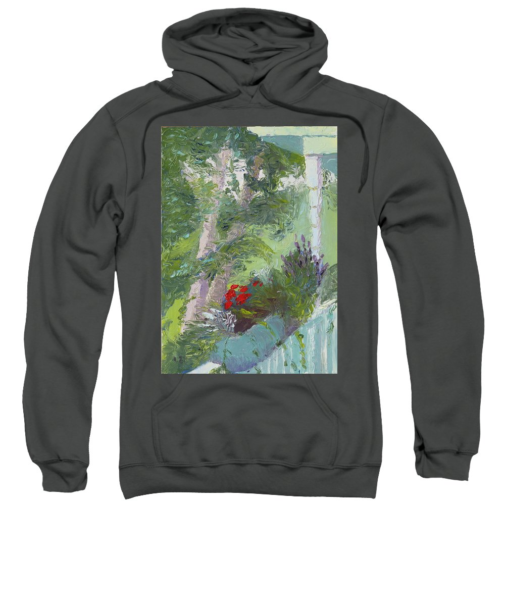 Porch Painting Sweatshirt featuring the painting Front Porch View by Lea Novak