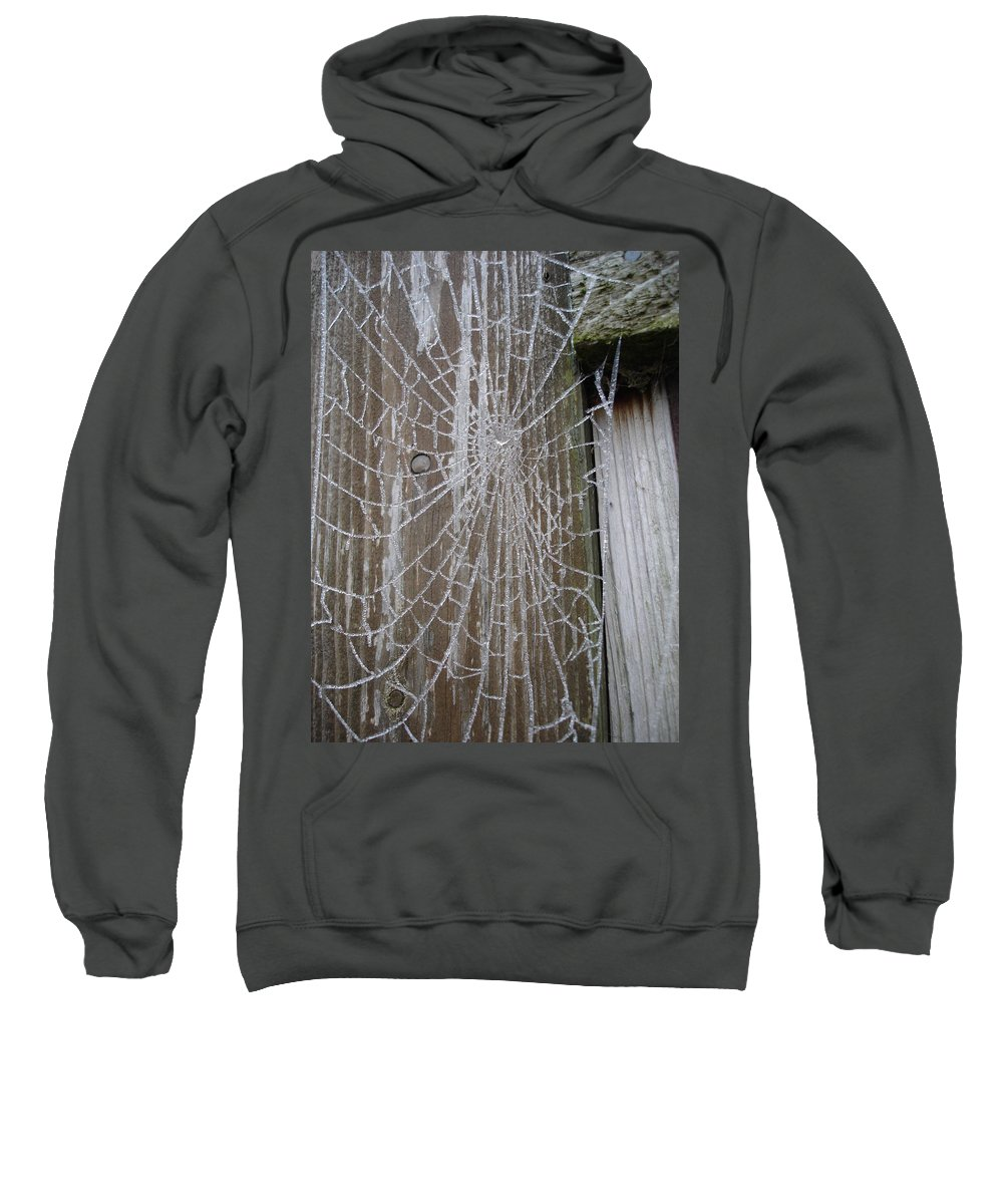 Winter Sweatshirt featuring the photograph Frosty Web by Susan Baker