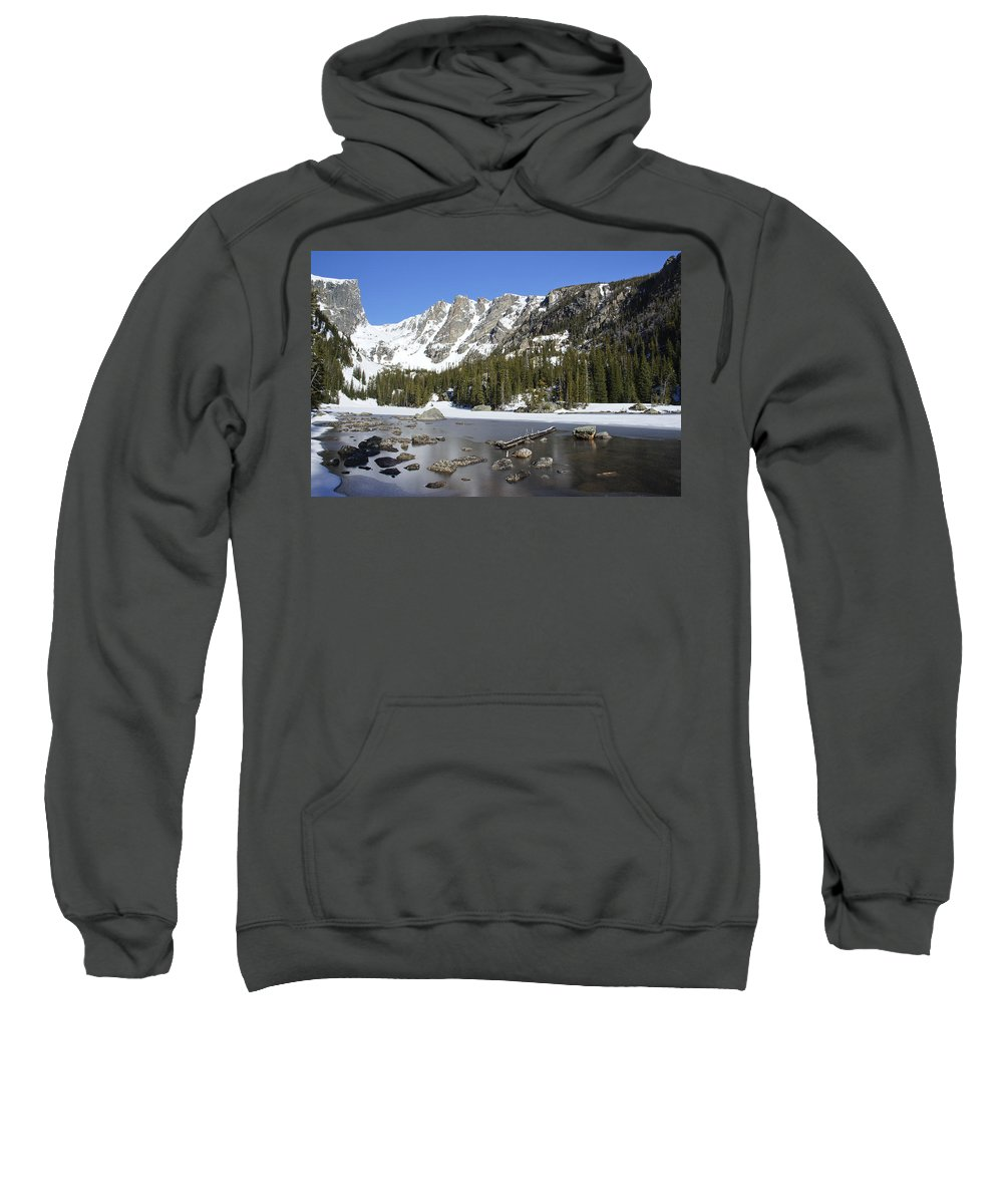 Horizontal Sweatshirt featuring the photograph Frozen Colorado Lake by Brian Kamprath