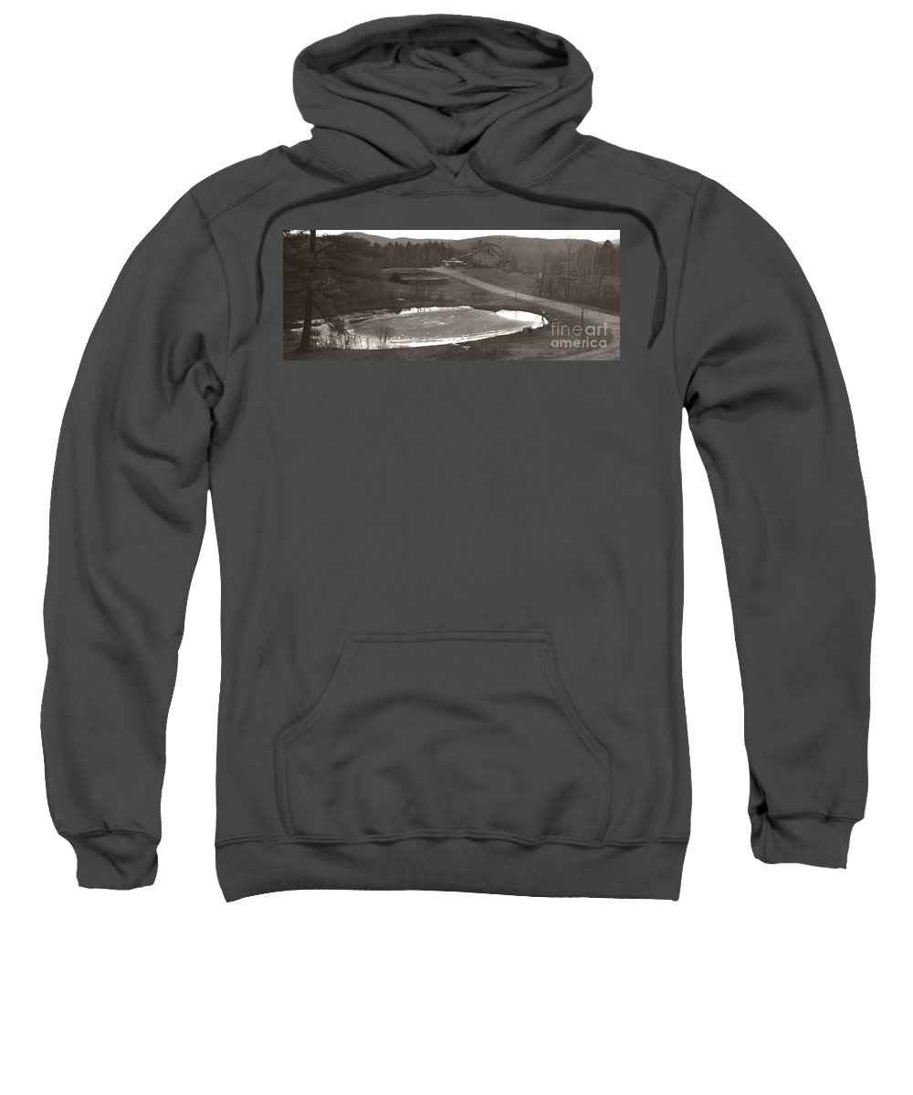 Sweatshirt featuring the photograph Frozen Pond Camp Ground Panorama by Heather Kirk