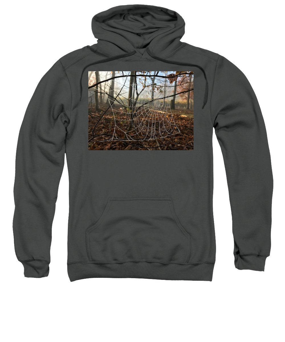Spider Sweatshirt featuring the photograph Frozen Web by Megan Greenfeld