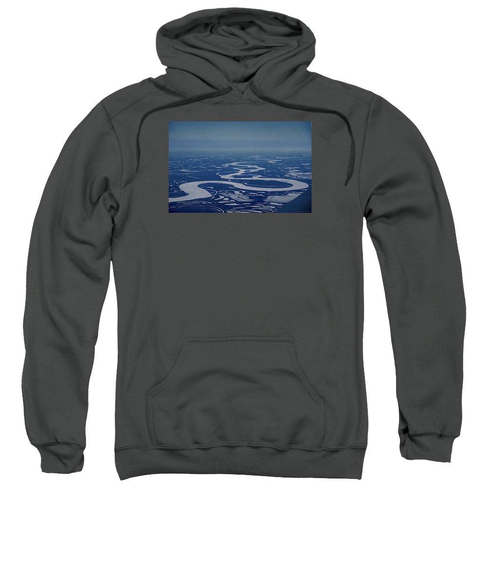 Frozen Yukon River Alaska White Ice Sweatshirt featuring the photograph Frozen Yukon River - Alaska by Galeria Trompiz
