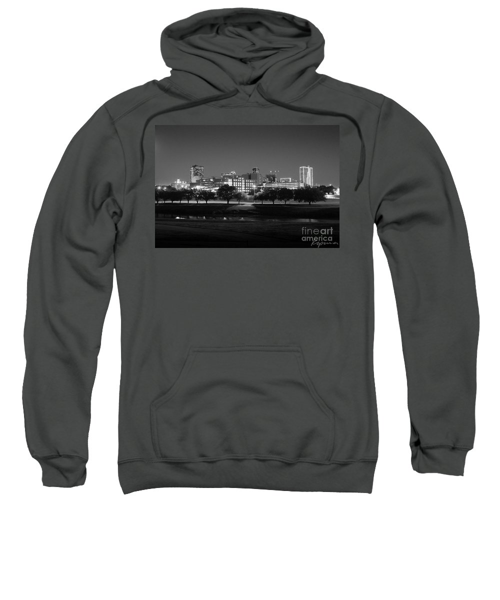 Pioneers Sweatshirt featuring the photograph Ft. Worth Texas Skyline Dusk Black And White by Greg Kopriva