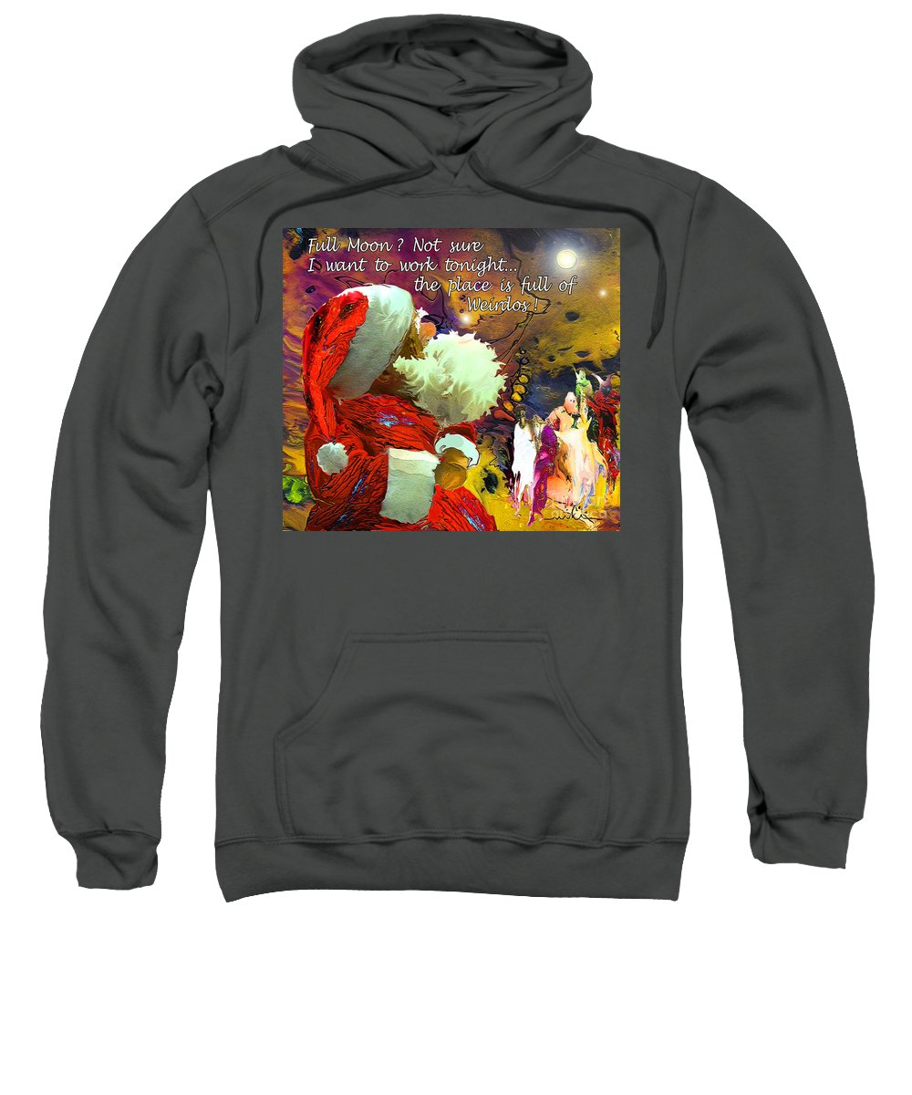 Fantasy Painting Sweatshirt featuring the painting Full Moon by Miki De Goodaboom