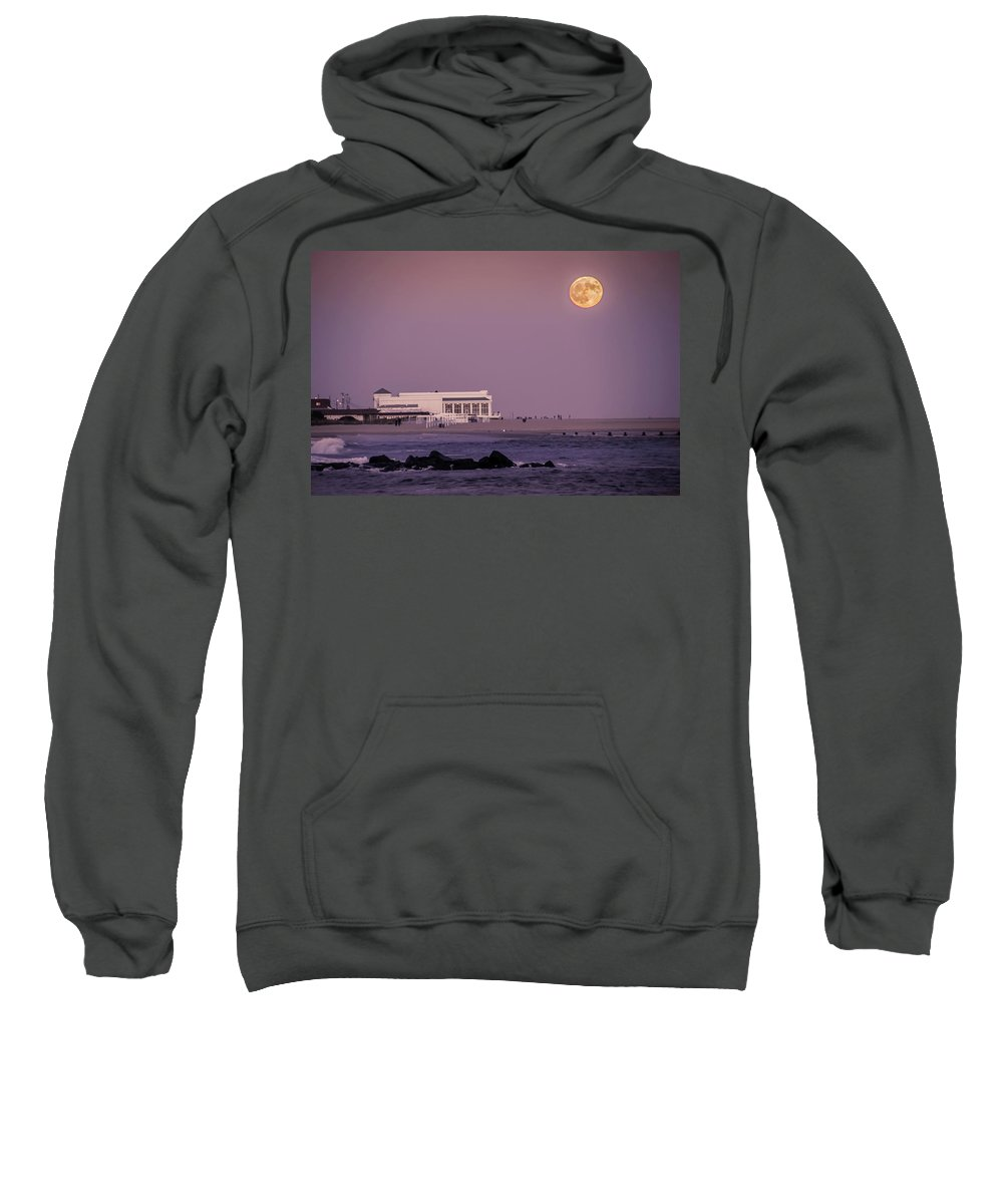 Full Sweatshirt featuring the photograph Full Moon Over Cape May by Bill Cannon