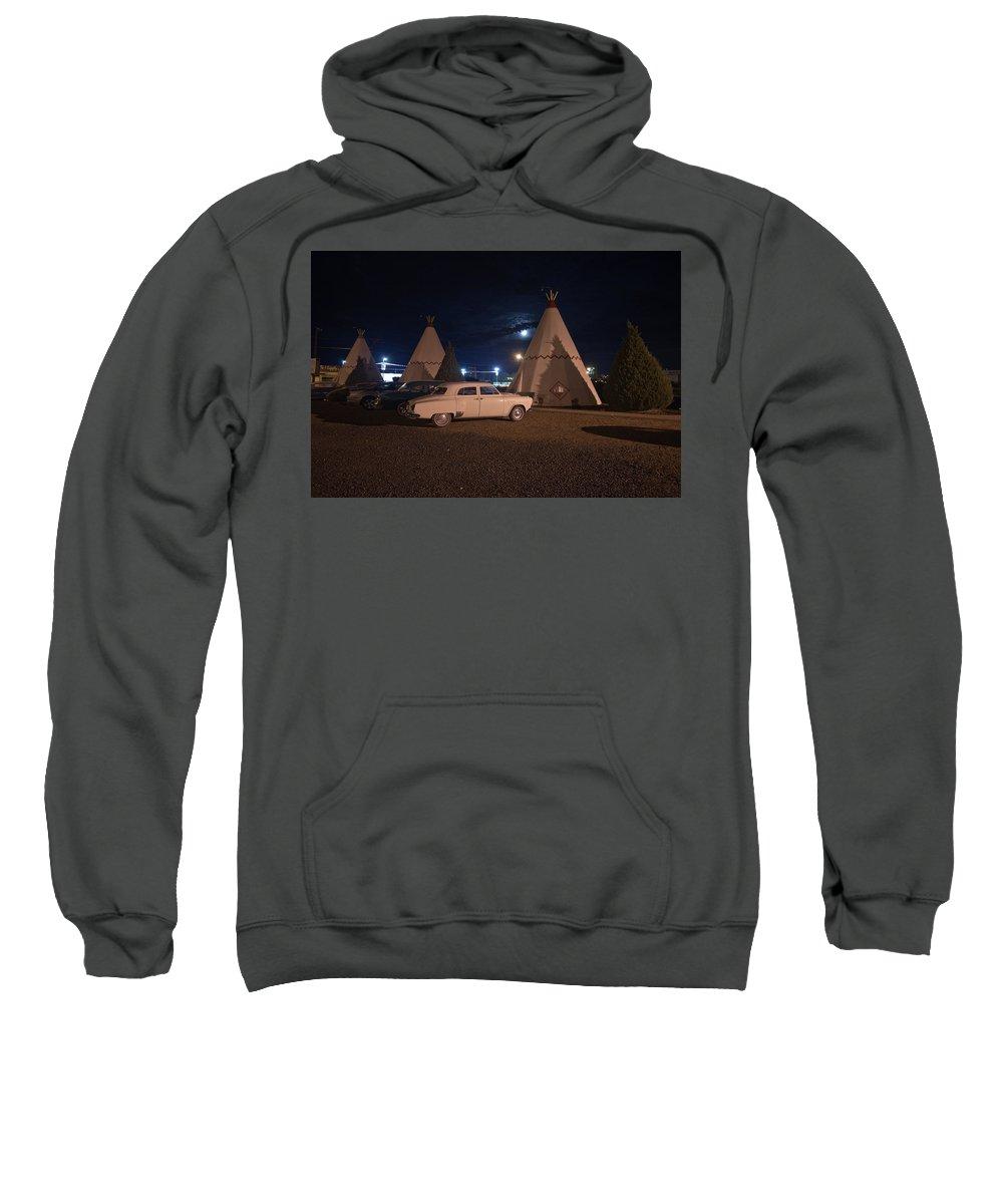 66 Sweatshirt featuring the photograph Full Moon Over Wigwam Motel by Robert J Caputo