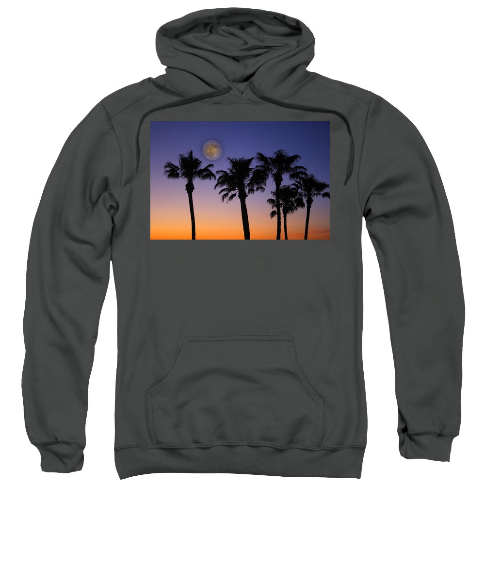 Moon Sweatshirt featuring the photograph Full Moon Palm Tree Sunset by James BO Insogna